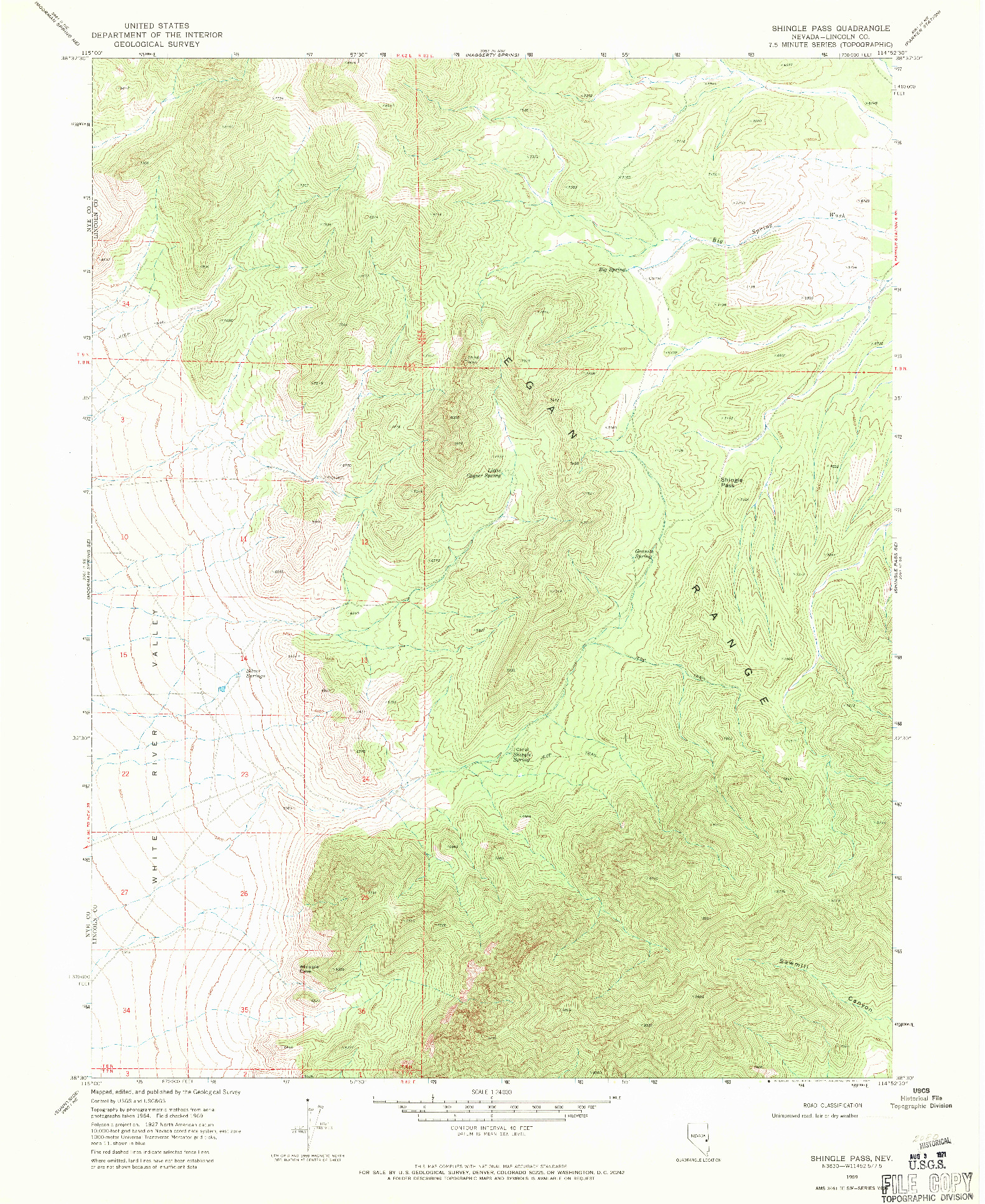USGS 1:24000-SCALE QUADRANGLE FOR SHINGLE PASS, NV 1969