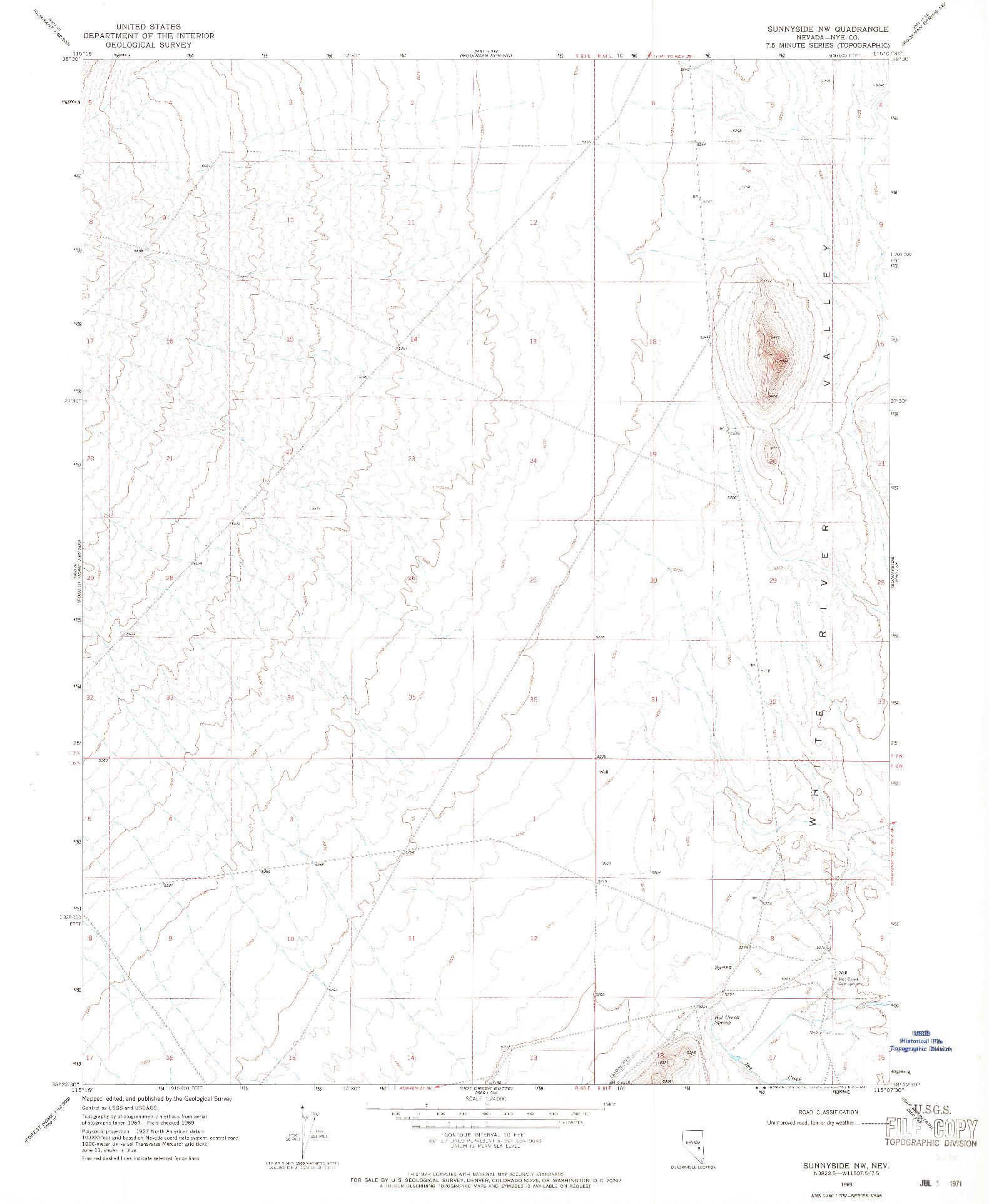 USGS 1:24000-SCALE QUADRANGLE FOR SUNNYSIDE NW, NV 1969