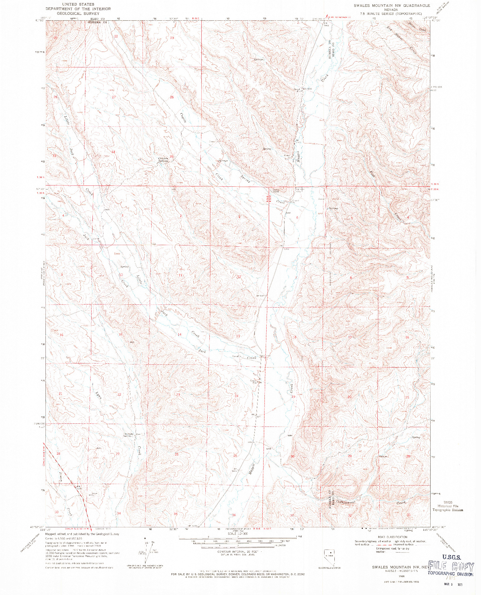 USGS 1:24000-SCALE QUADRANGLE FOR SWALES MOUNTAIN NW, NV 1968