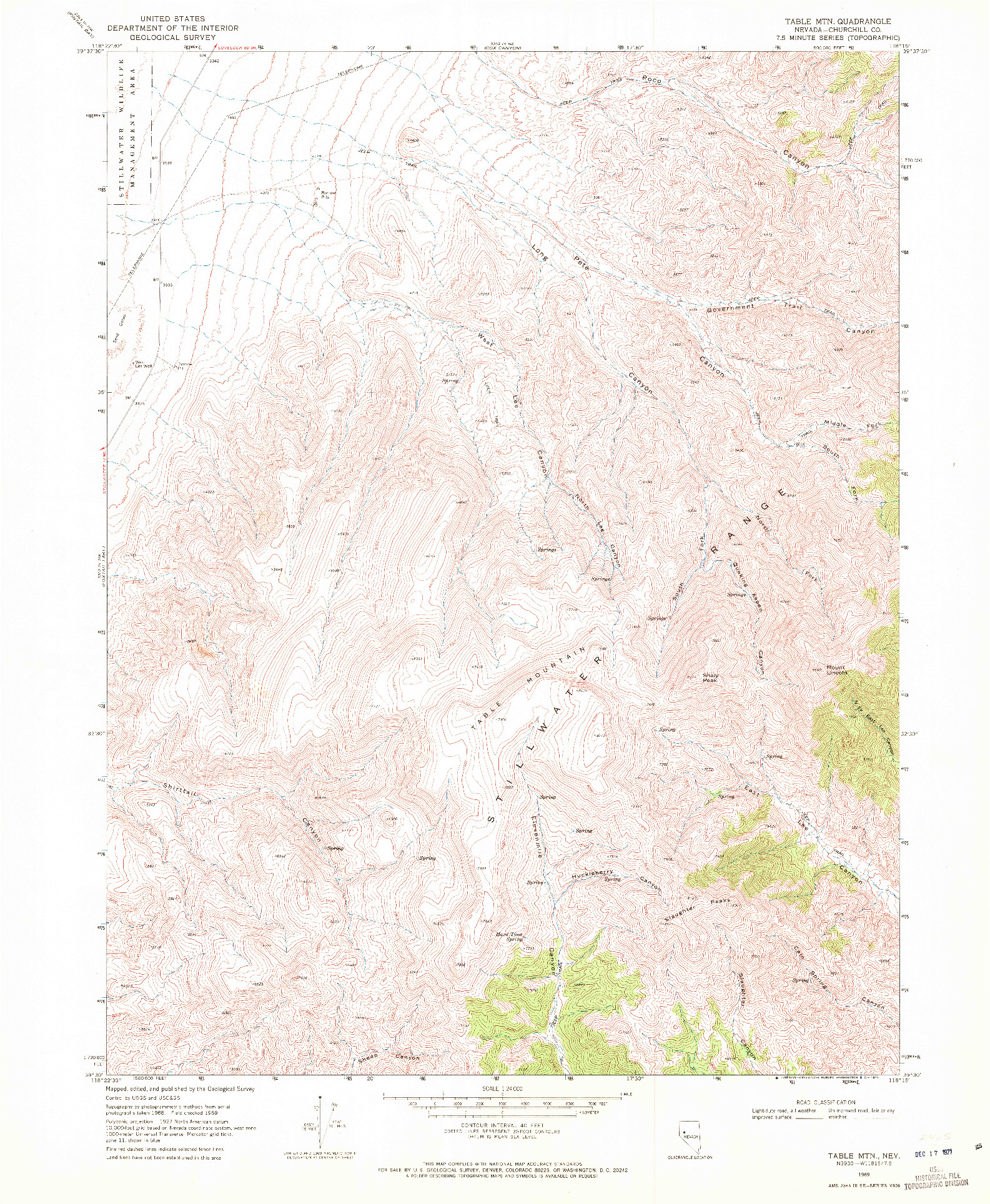 USGS 1:24000-SCALE QUADRANGLE FOR TABLE MTN, NV 1969