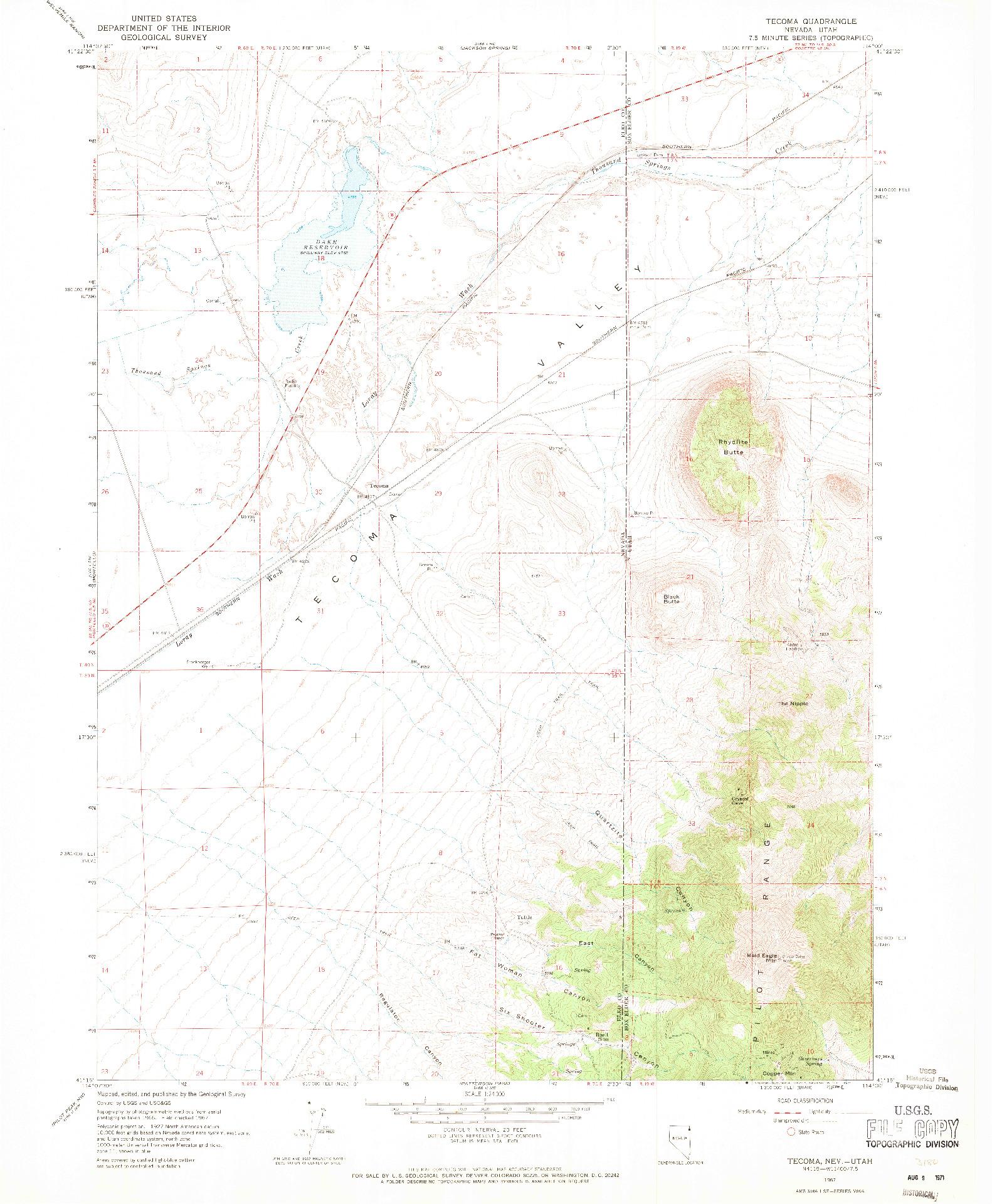 USGS 1:24000-SCALE QUADRANGLE FOR TECOMA, NV 1967