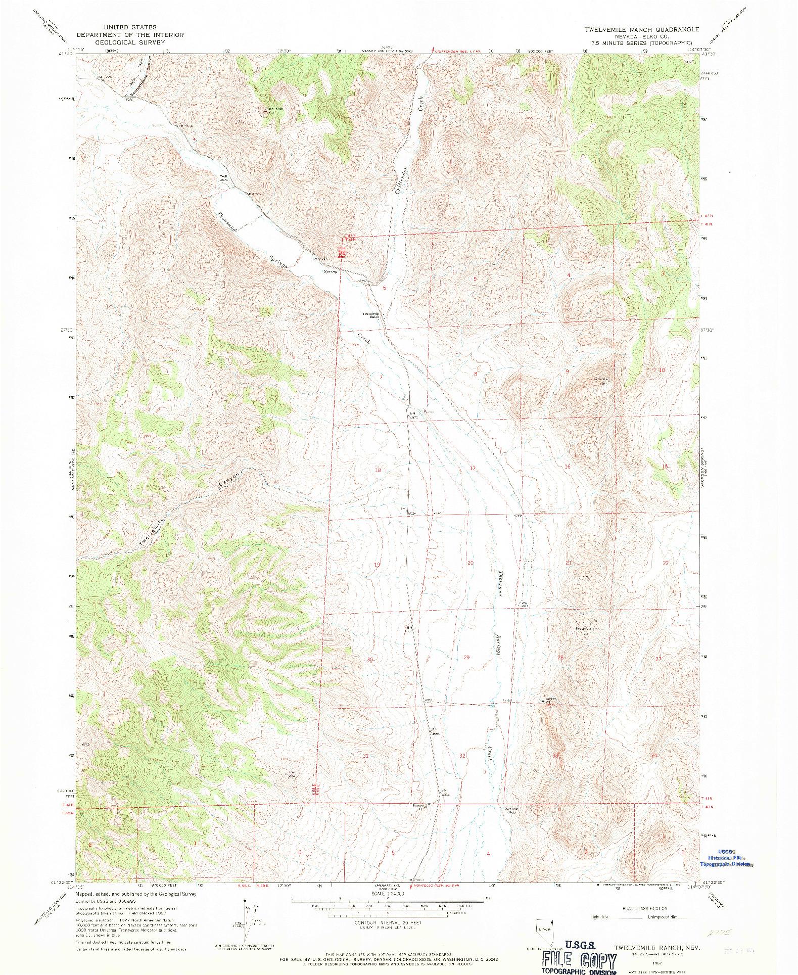 USGS 1:24000-SCALE QUADRANGLE FOR TWELVEMILE RANCH, NV 1967