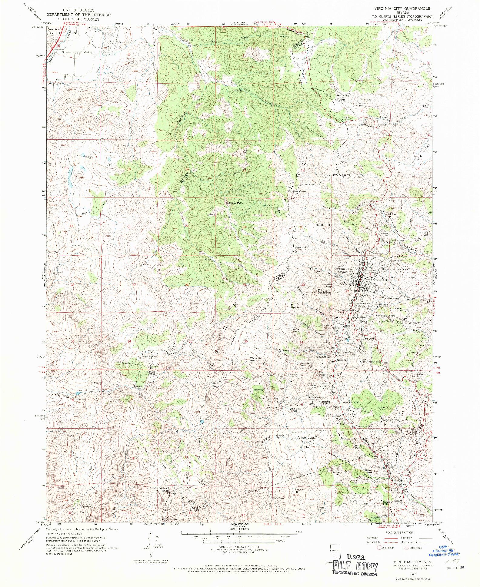 USGS 1:24000-SCALE QUADRANGLE FOR VIRGINIA CITY, NV 1967