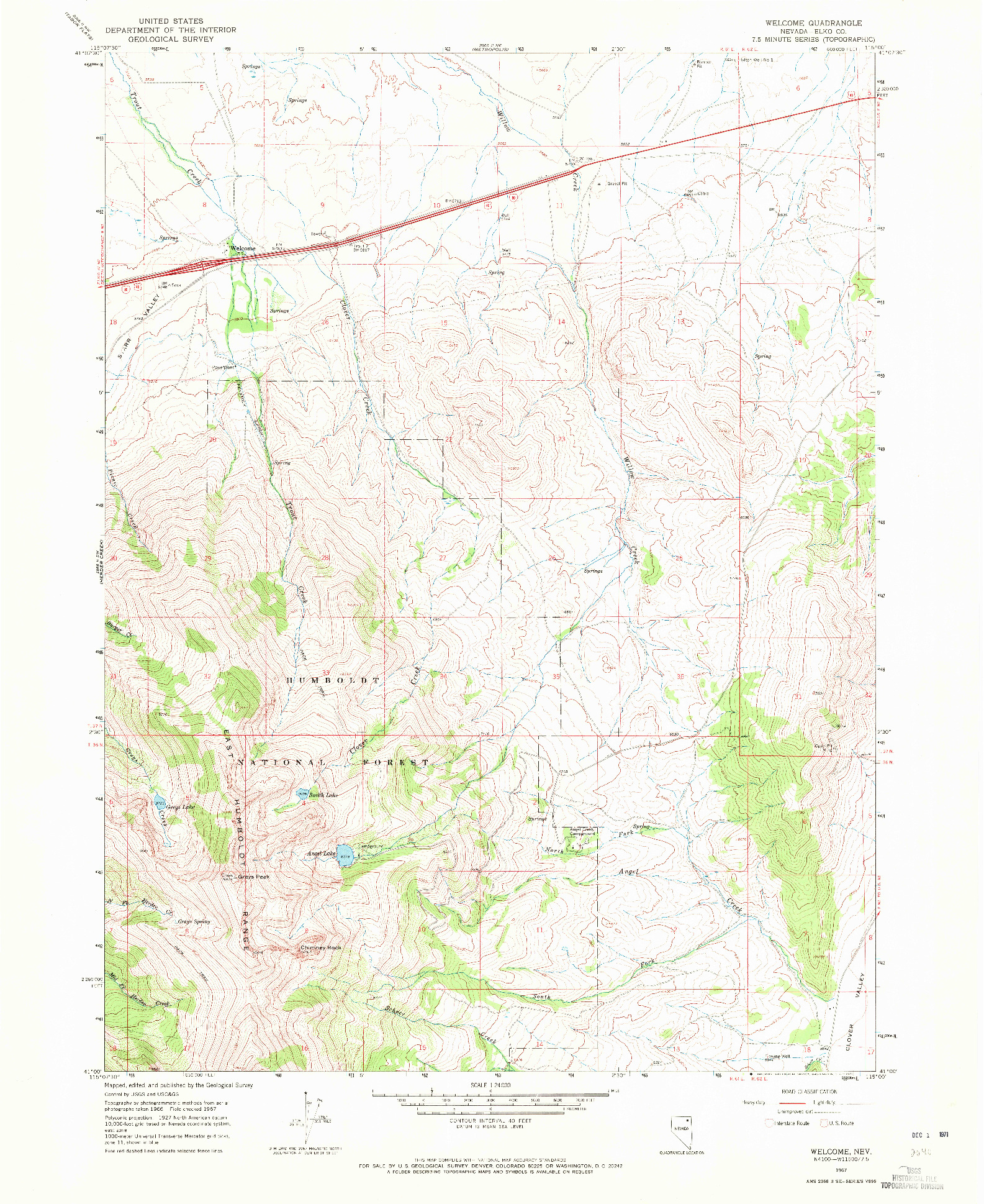 USGS 1:24000-SCALE QUADRANGLE FOR WELCOME, NV 1967