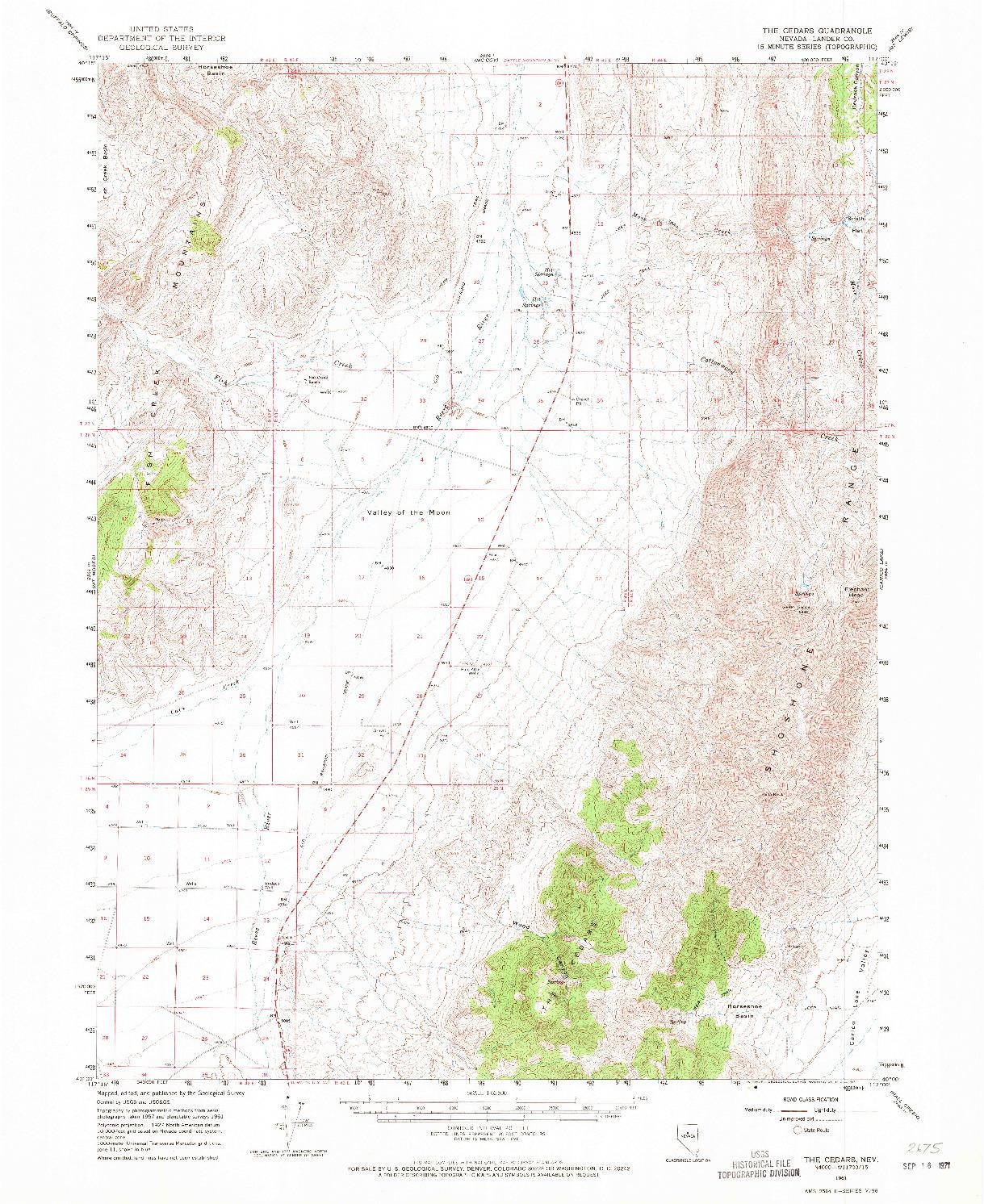 USGS 1:62500-SCALE QUADRANGLE FOR THE CEDARS, NV 1961