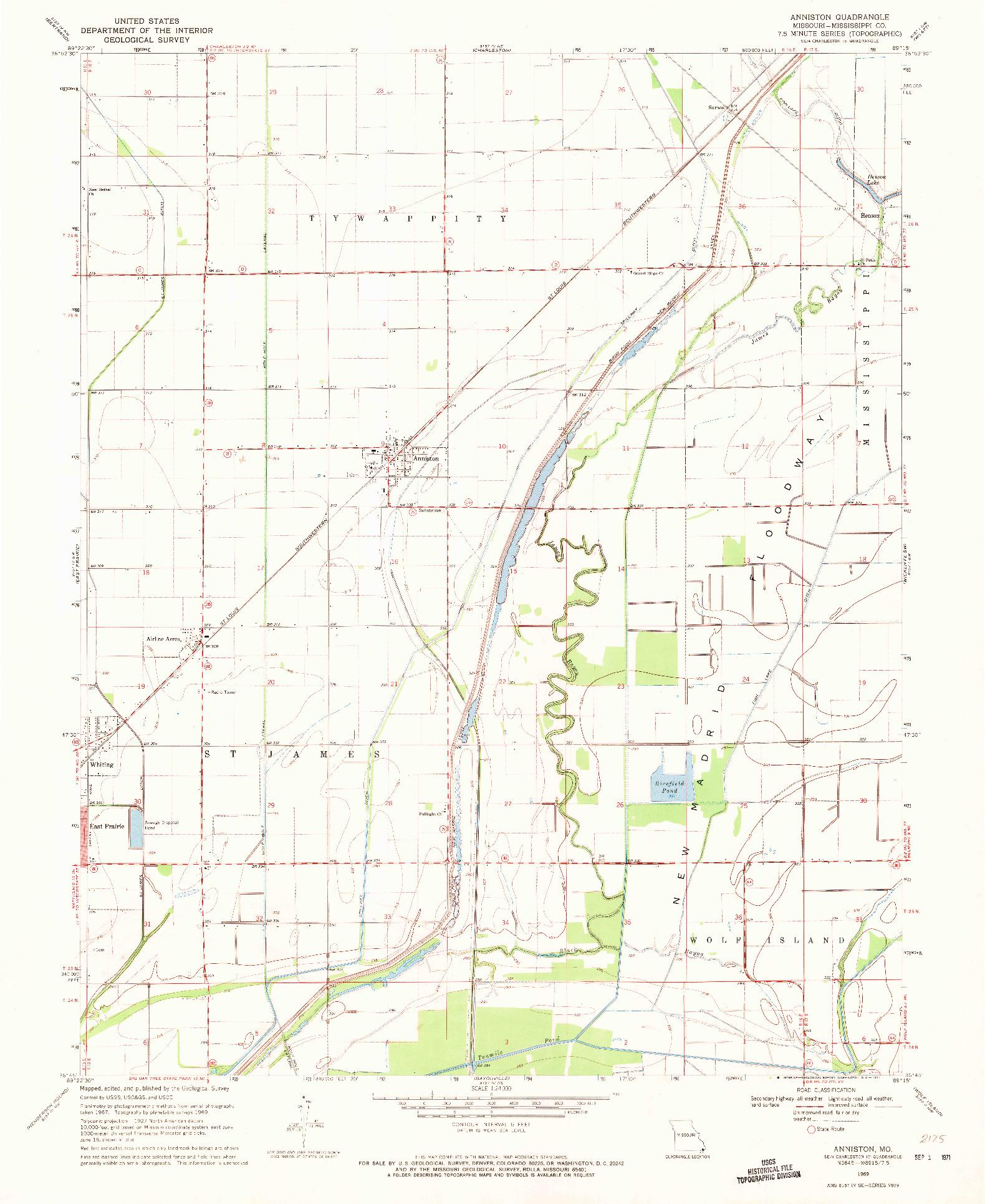 USGS 1:24000-SCALE QUADRANGLE FOR ANNISTON, MO 1969