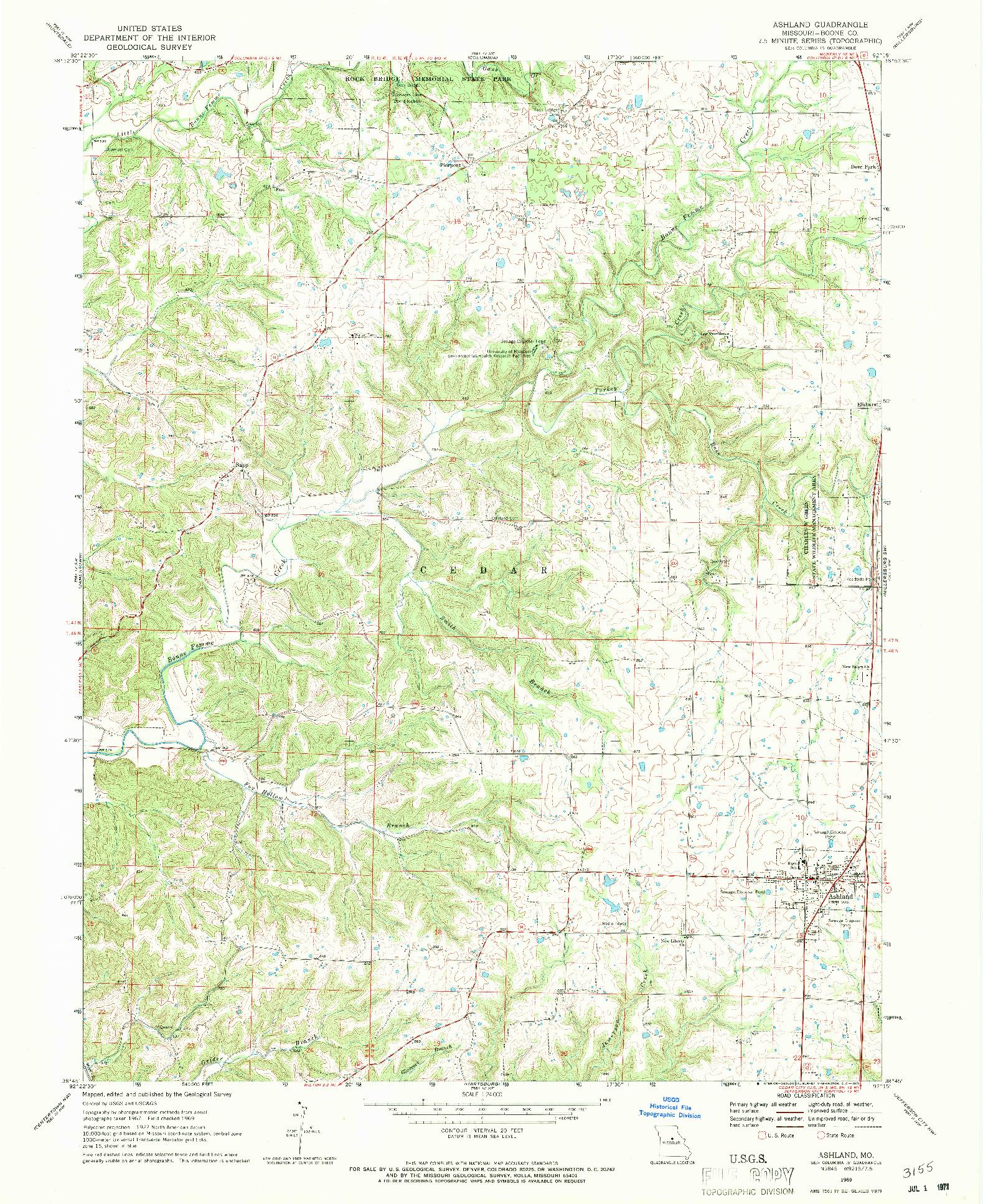 USGS 1:24000-SCALE QUADRANGLE FOR ASHLAND, MO 1969