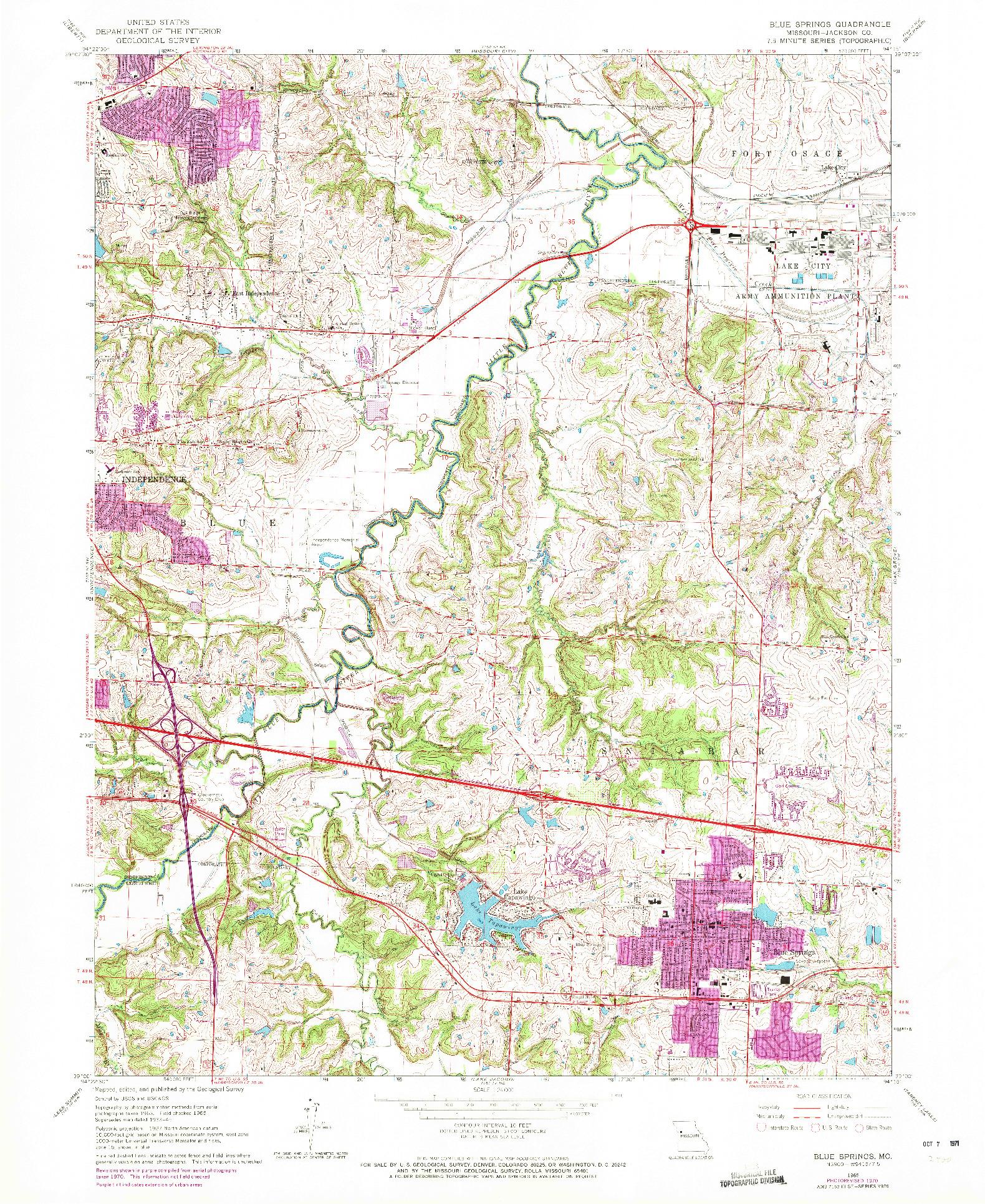 USGS 1:24000-SCALE QUADRANGLE FOR BLUE SPRINGS, MO 1965