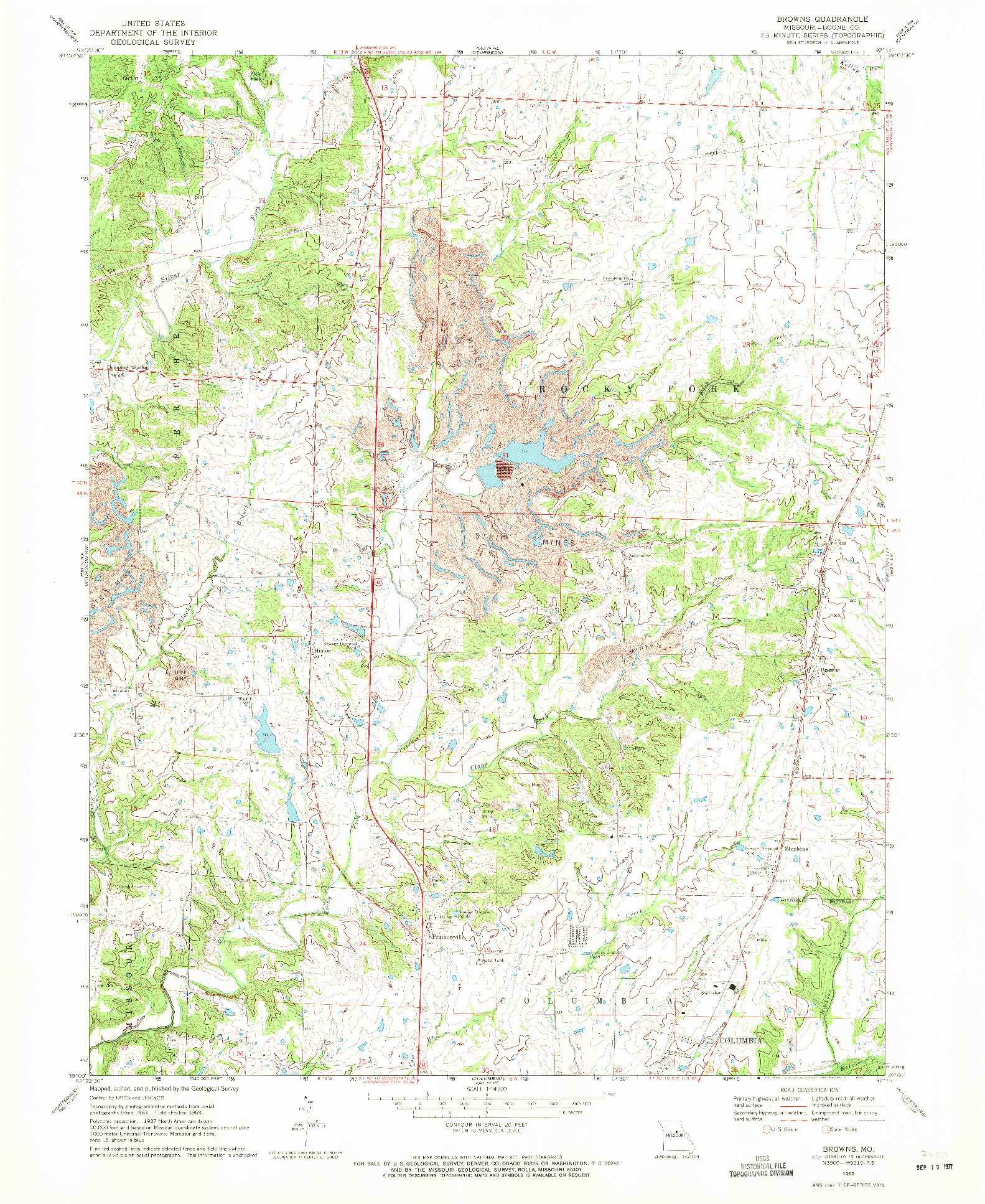 USGS 1:24000-SCALE QUADRANGLE FOR BROWNS, MO 1969