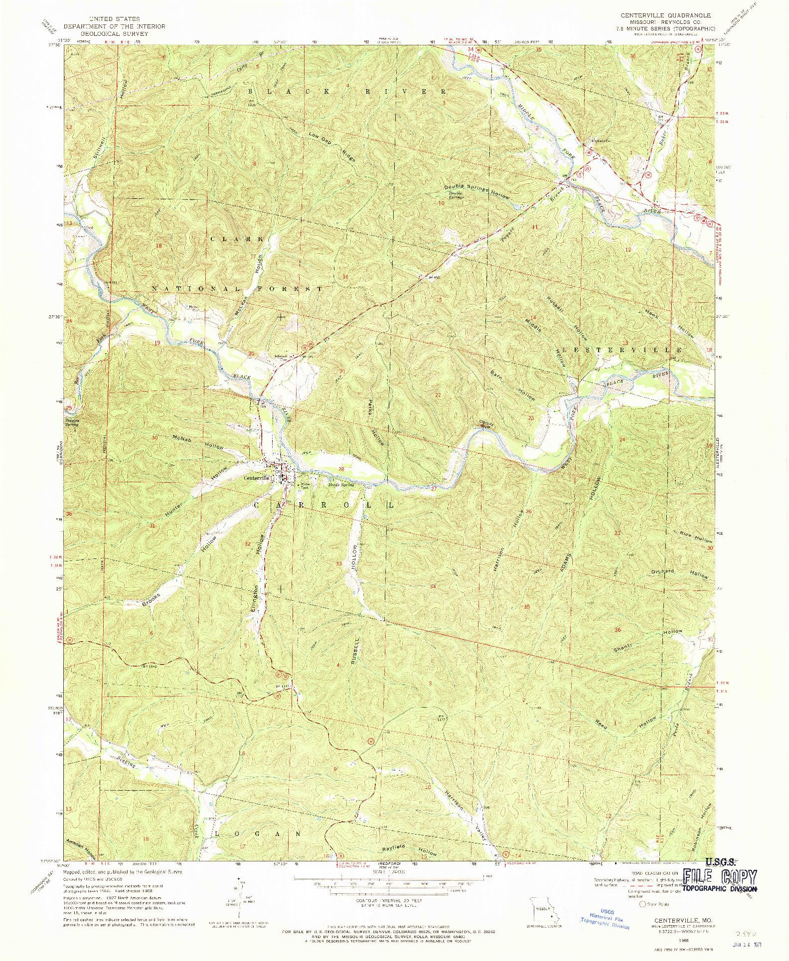 USGS 1:24000-SCALE QUADRANGLE FOR CENTERVILLE, MO 1968
