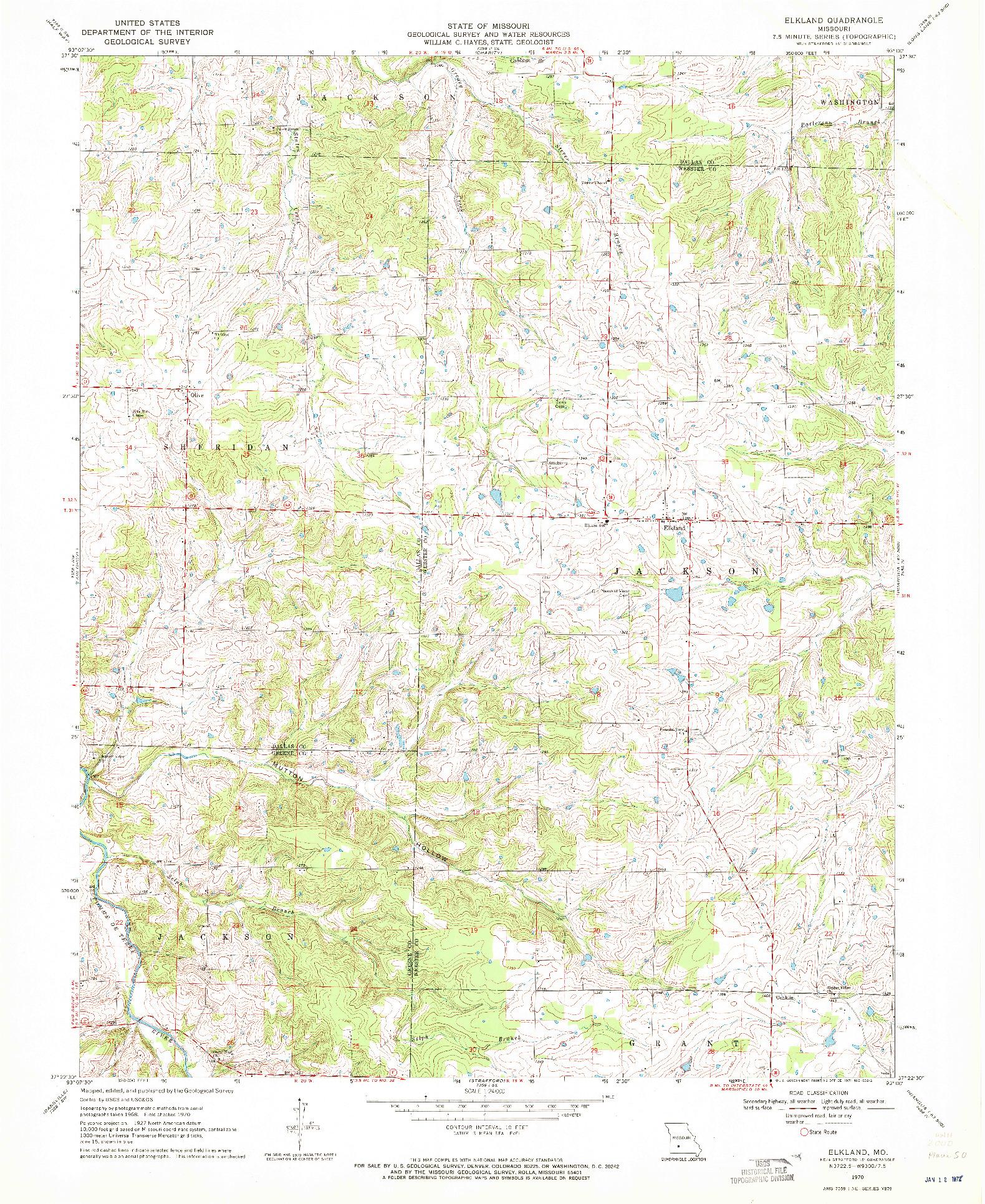 USGS 1:24000-SCALE QUADRANGLE FOR ELKLAND, MO 1970