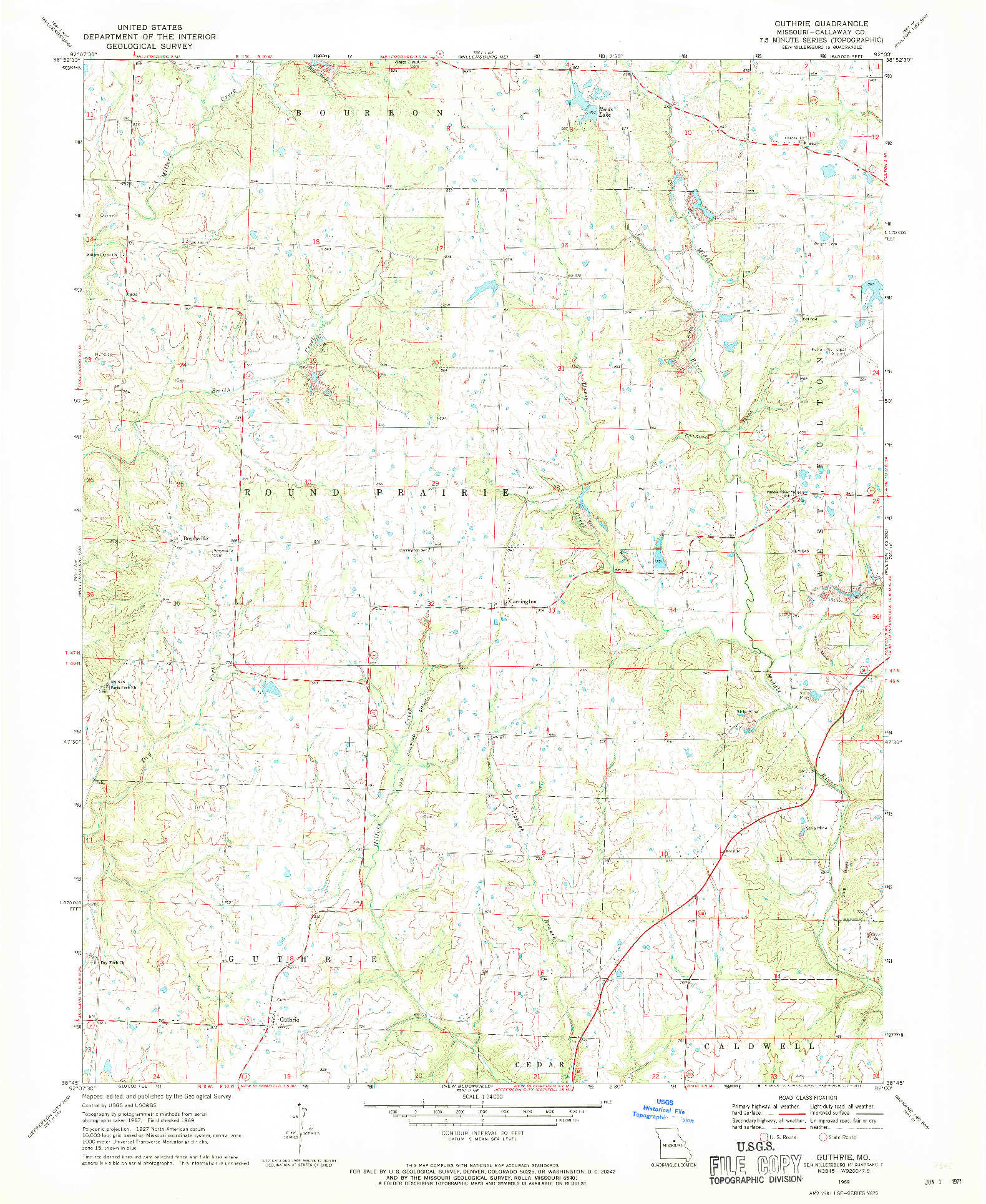 USGS 1:24000-SCALE QUADRANGLE FOR GUTHRIE, MO 1969