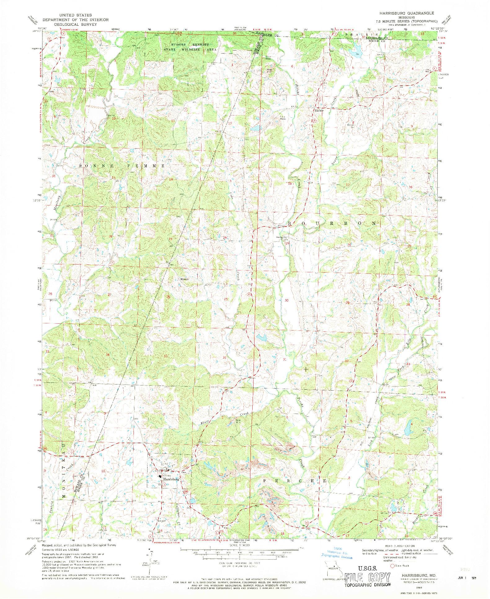 USGS 1:24000-SCALE QUADRANGLE FOR HARRISBURG, MO 1969