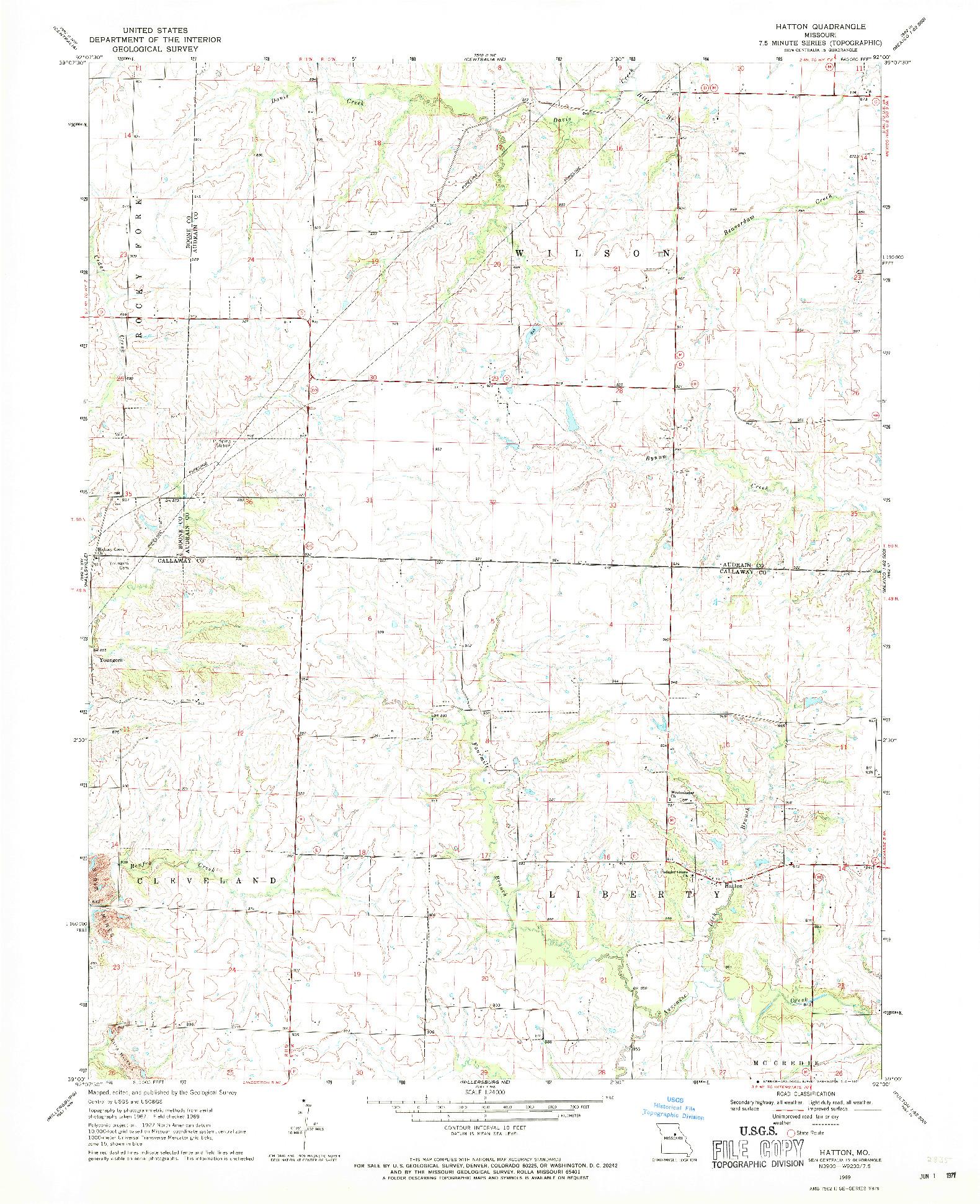 USGS 1:24000-SCALE QUADRANGLE FOR HATTON, MO 1969