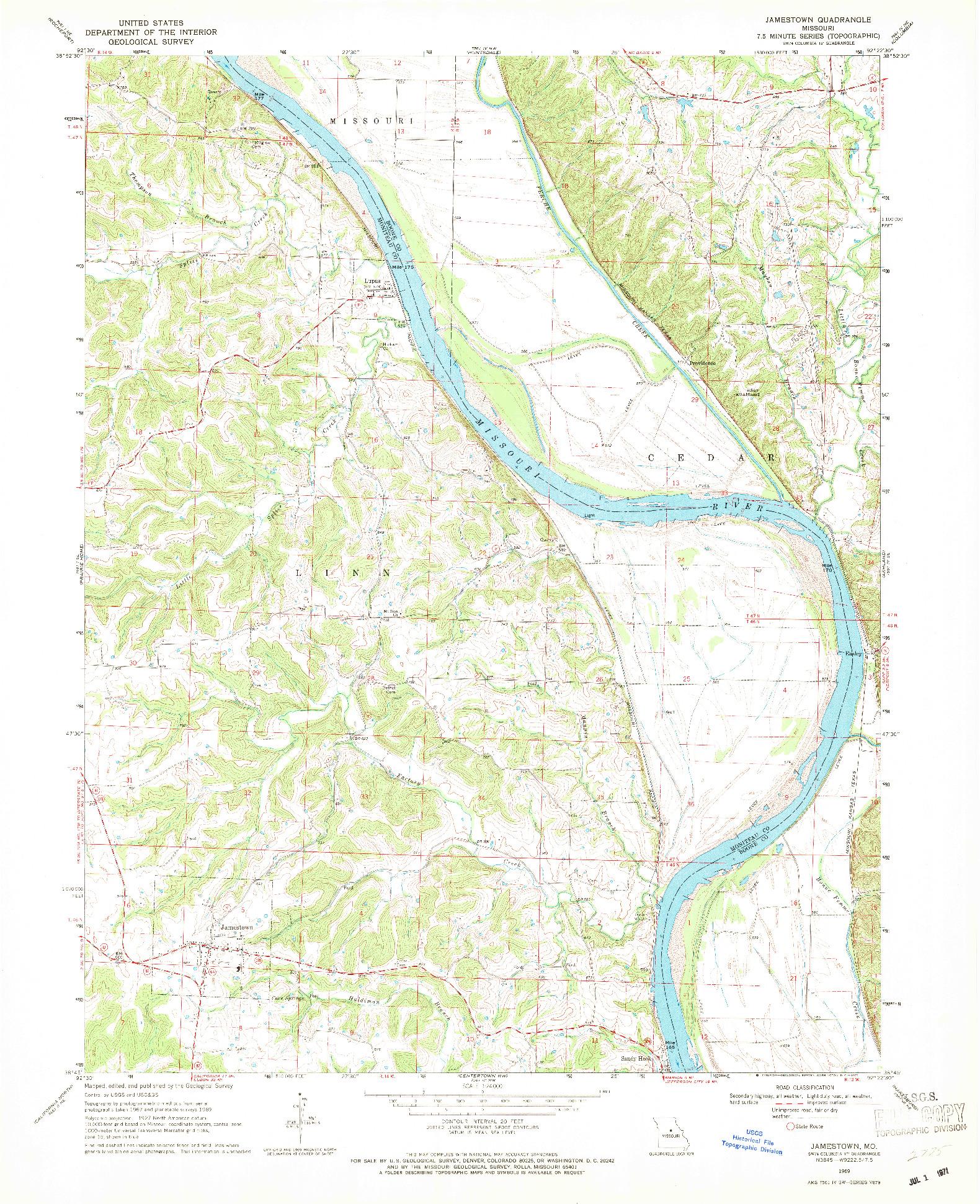 USGS 1:24000-SCALE QUADRANGLE FOR JAMESTOWN, MO 1969