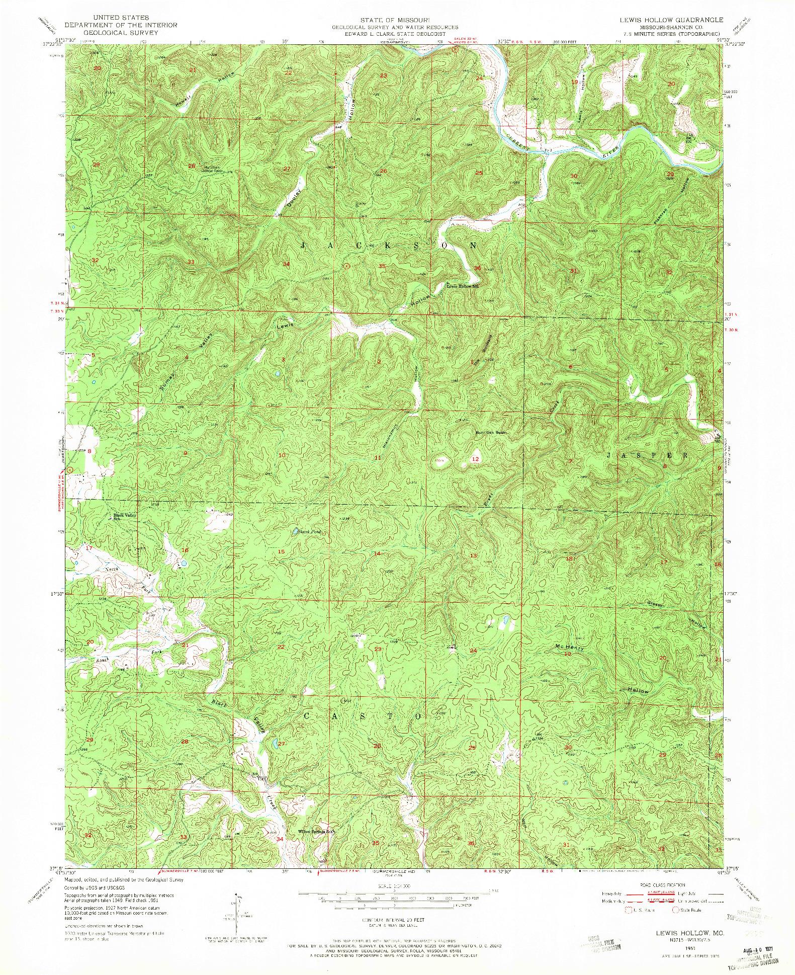 USGS 1:24000-SCALE QUADRANGLE FOR LEWIS HOLLOW, MO 1951