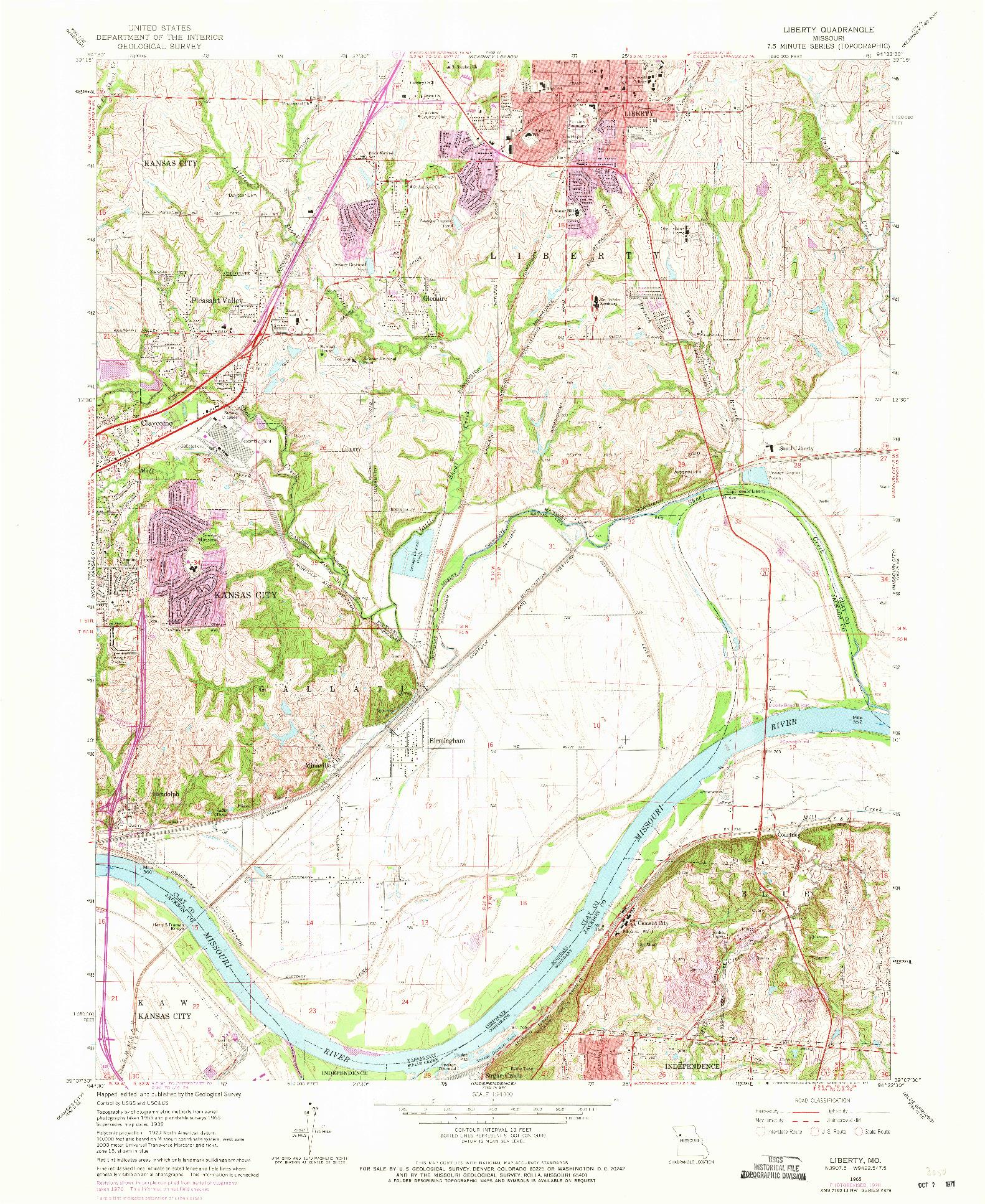 USGS 1:24000-SCALE QUADRANGLE FOR LIBERTY, MO 1965