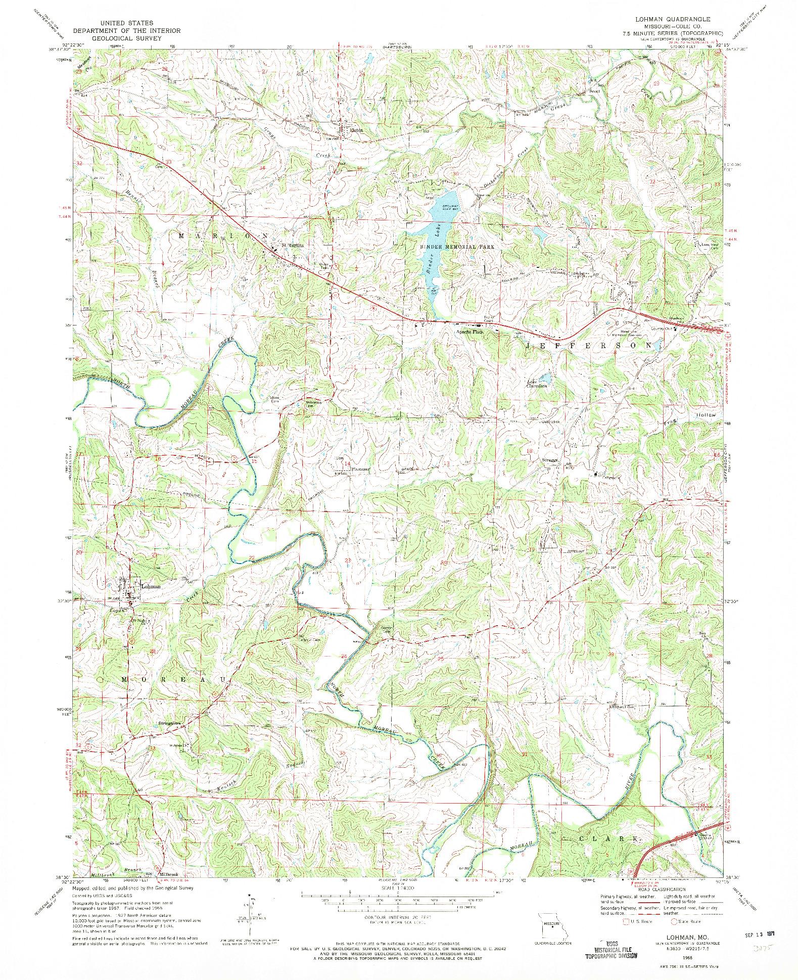 USGS 1:24000-SCALE QUADRANGLE FOR LOHMAN, MO 1968