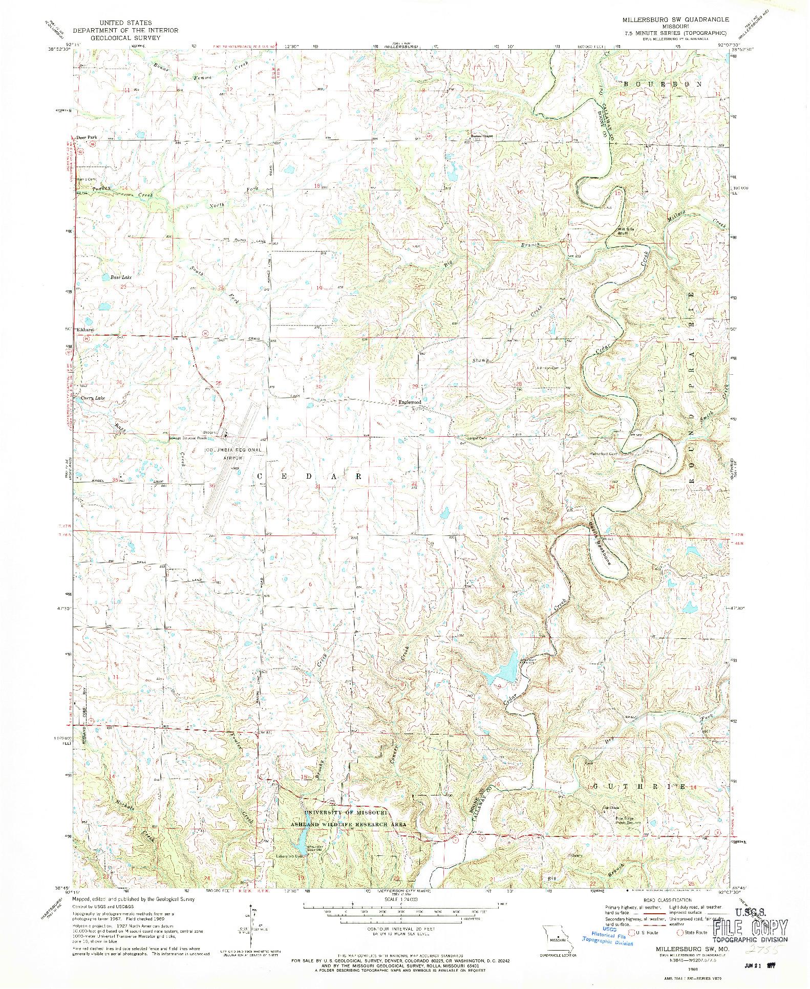 USGS 1:24000-SCALE QUADRANGLE FOR MILLERSBURG SW, MO 1969