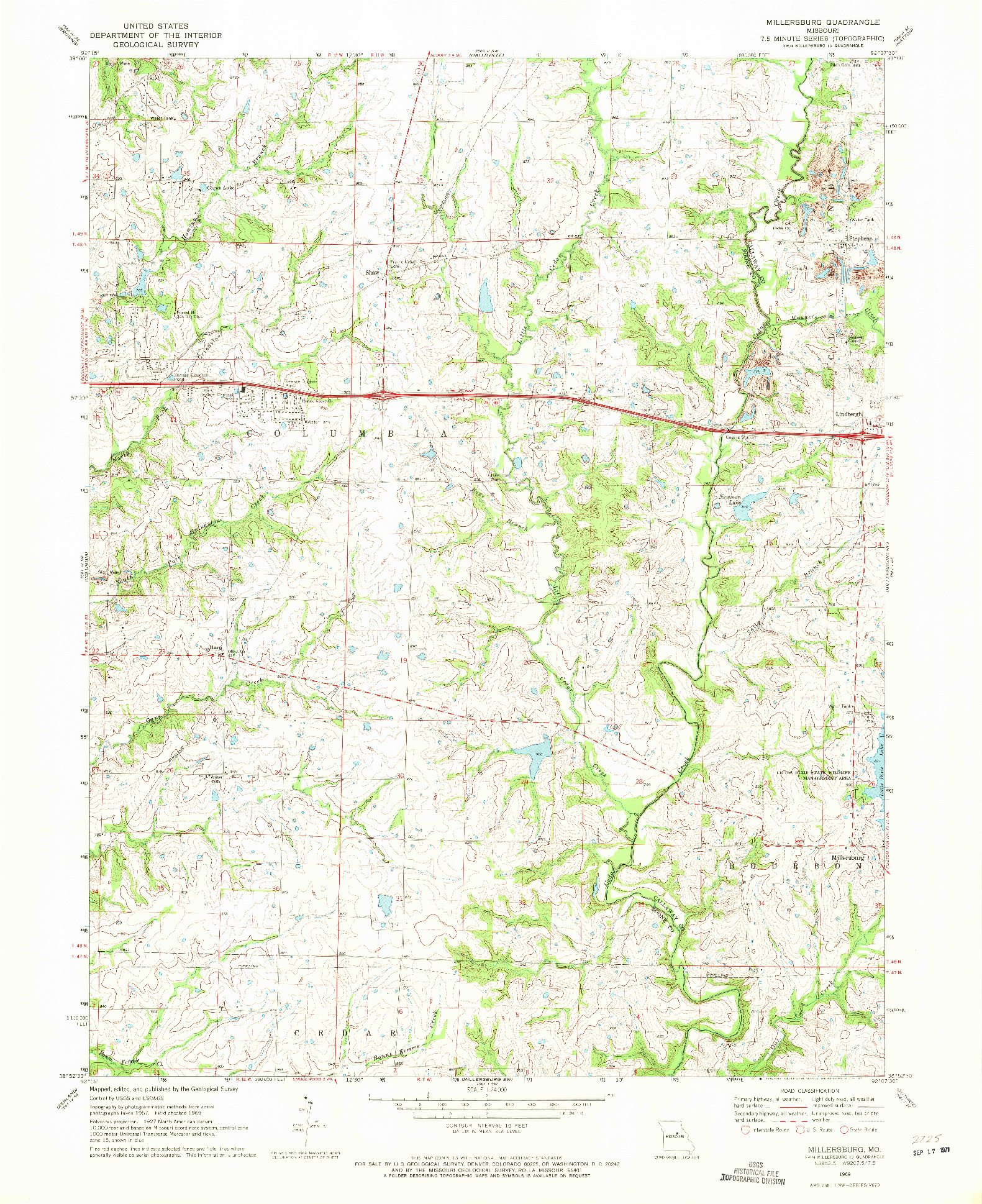 USGS 1:24000-SCALE QUADRANGLE FOR MILLERSBURG, MO 1969