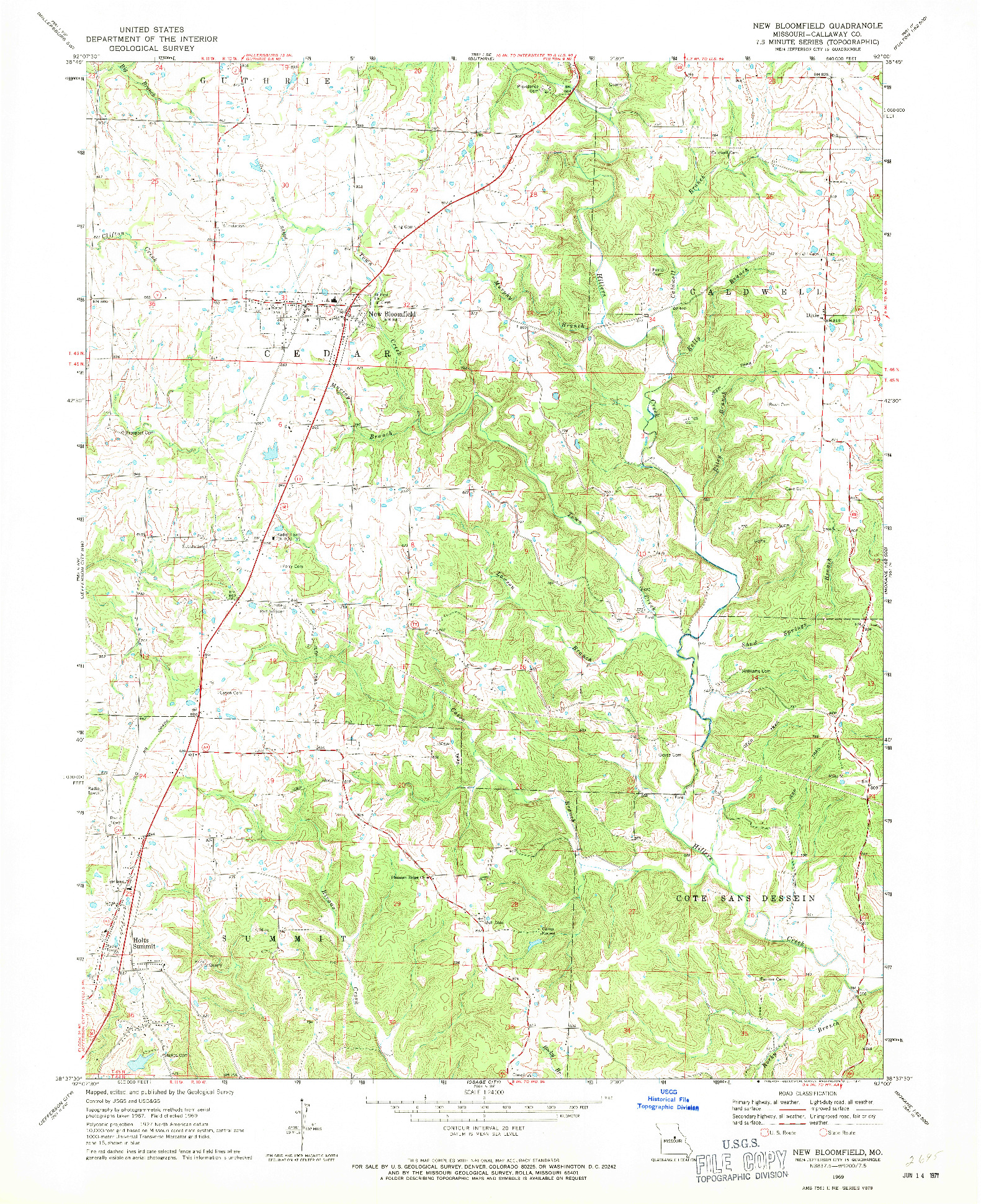 USGS 1:24000-SCALE QUADRANGLE FOR NEW BLOOMFIELD, MO 1969