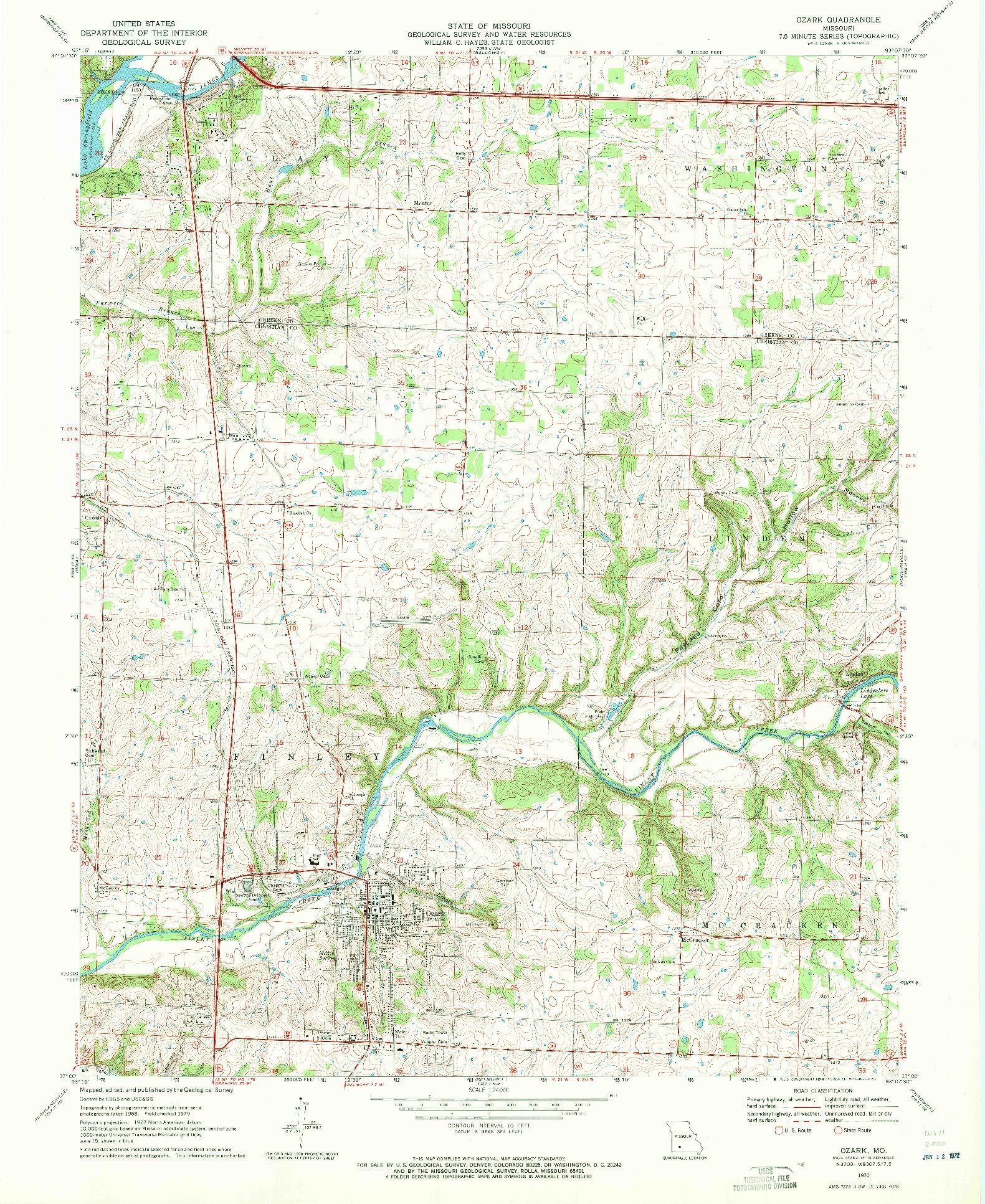USGS 1:24000-SCALE QUADRANGLE FOR OZARK, MO 1970
