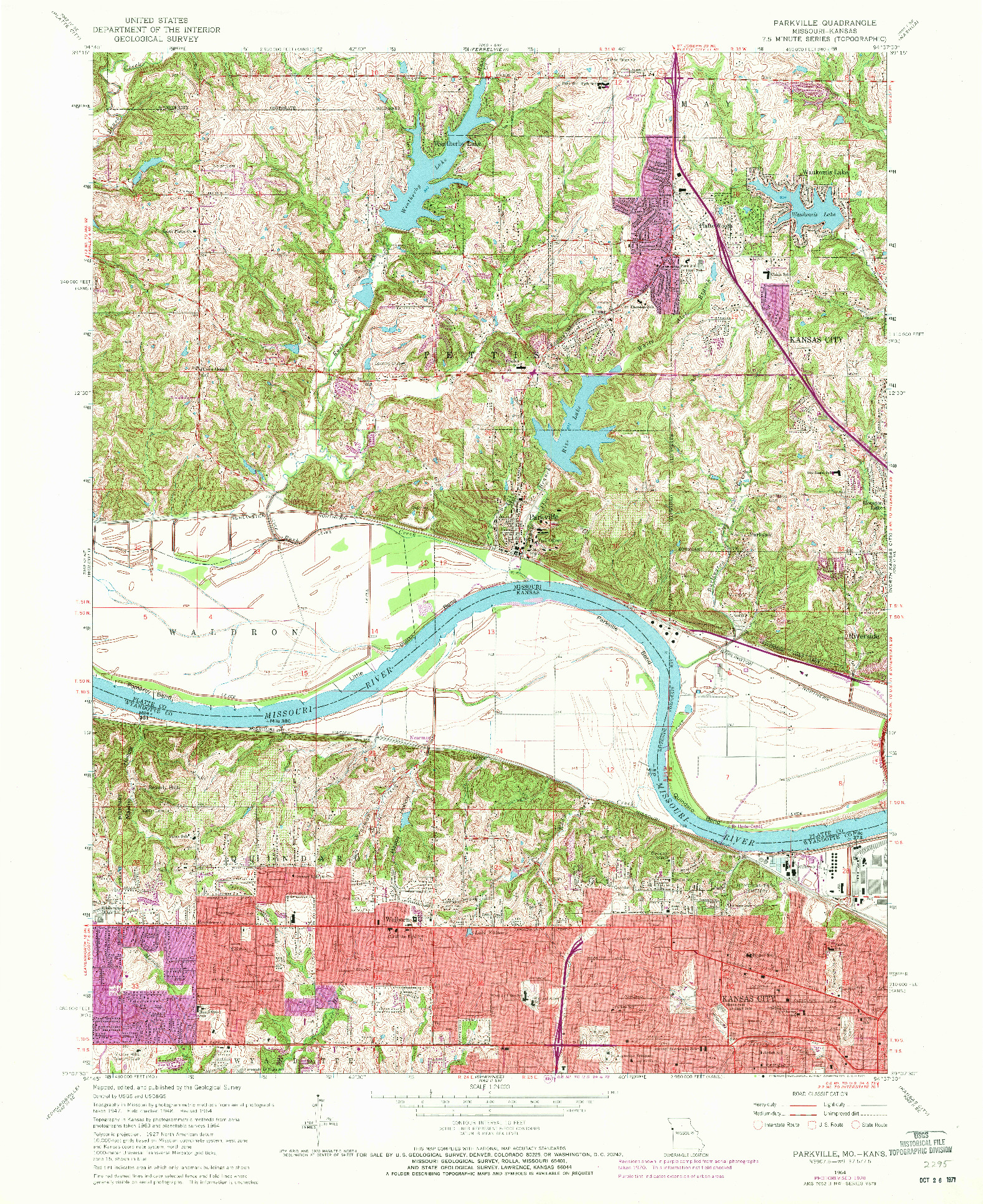 USGS 1:24000-SCALE QUADRANGLE FOR PARKVILLE, MO 1964