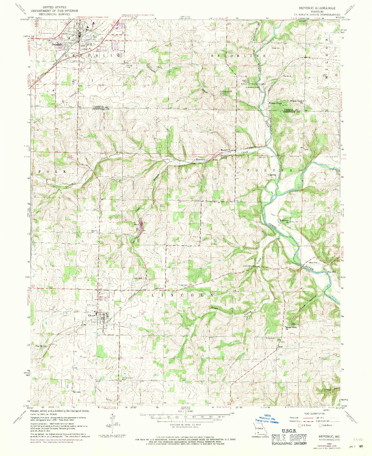 USGS 1:24000-SCALE QUADRANGLE FOR REPUBLIC, MO 1960