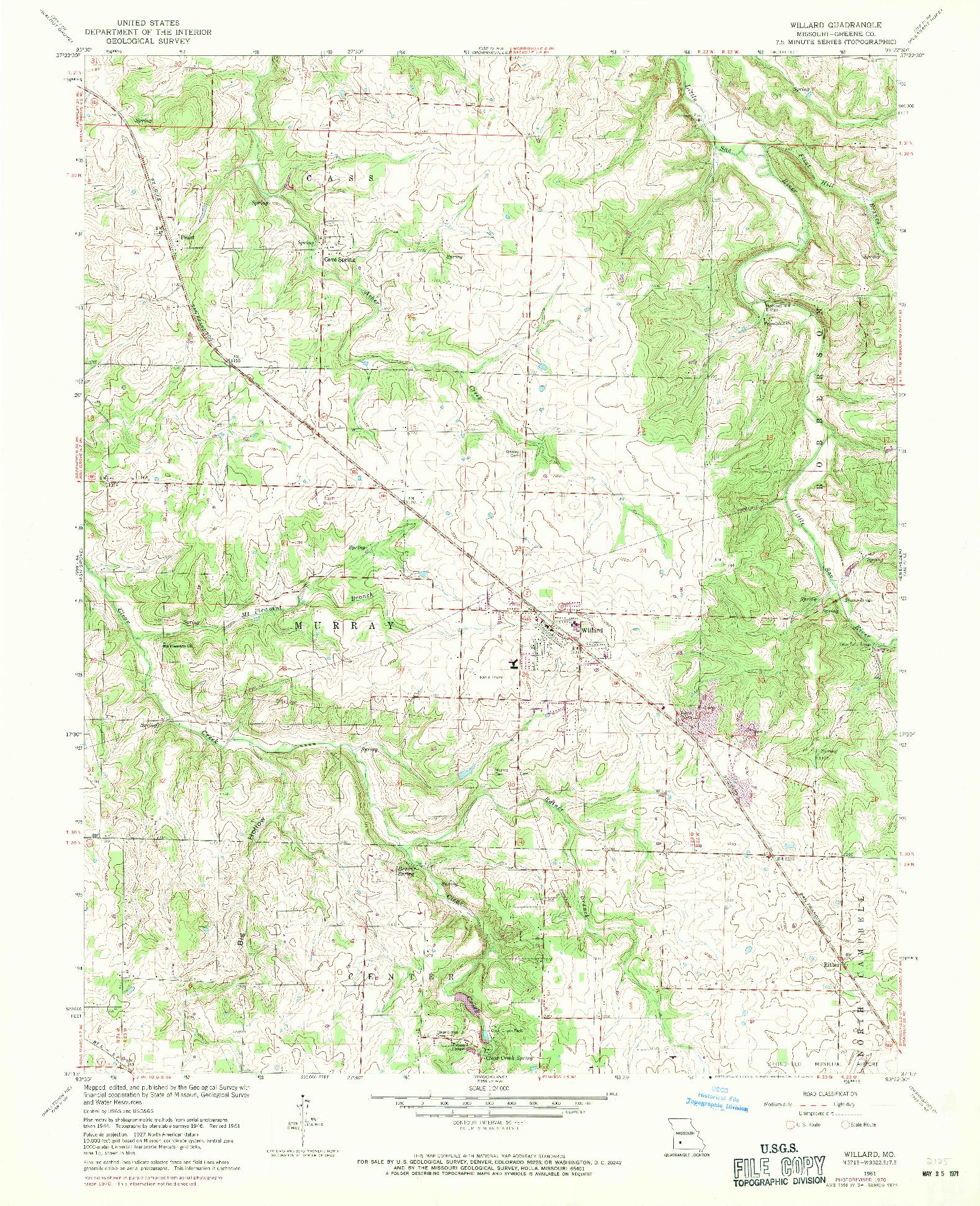 USGS 1:24000-SCALE QUADRANGLE FOR WILLARD, MO 1961