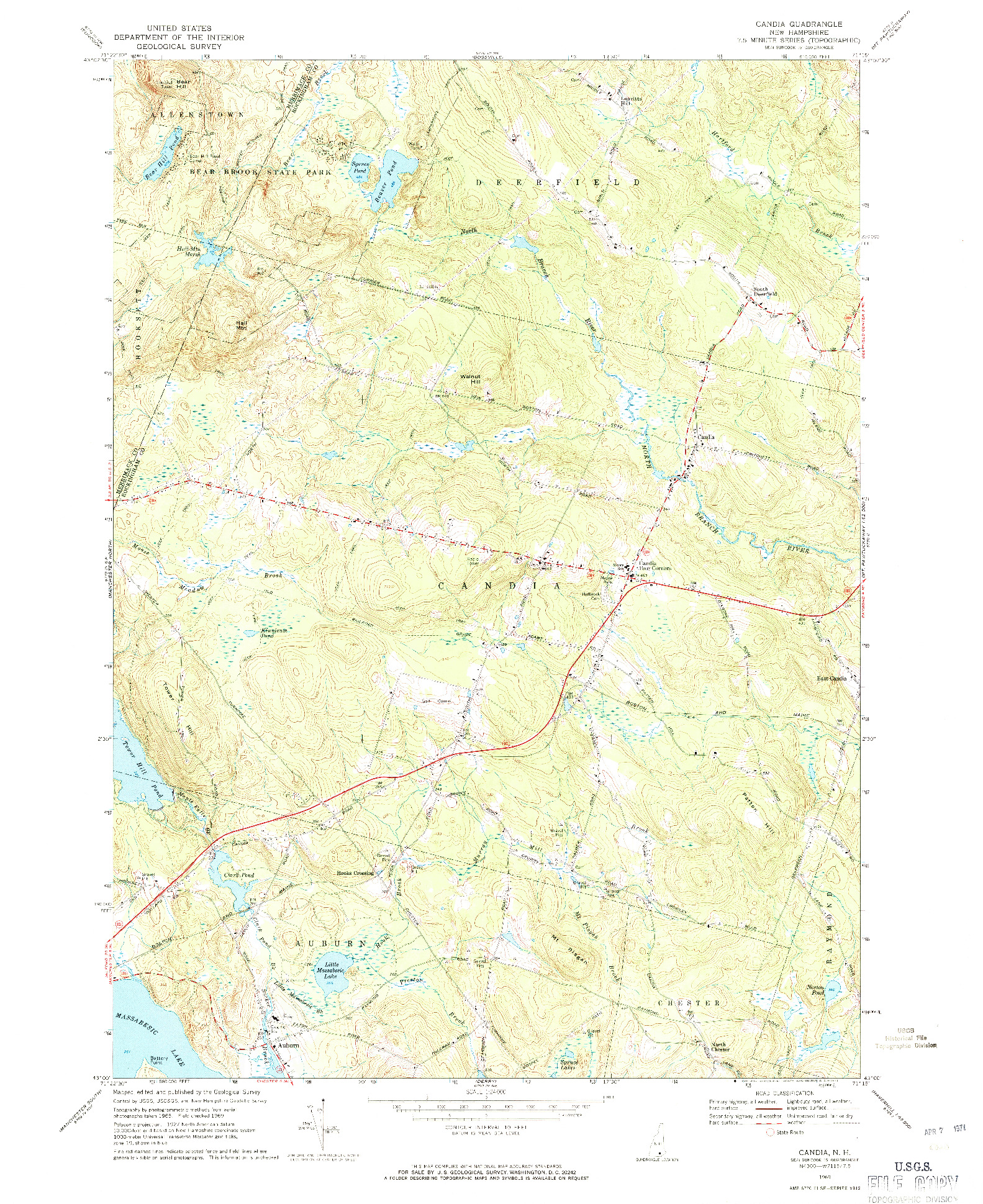 USGS 1:24000-SCALE QUADRANGLE FOR CANDIA, NH 1969