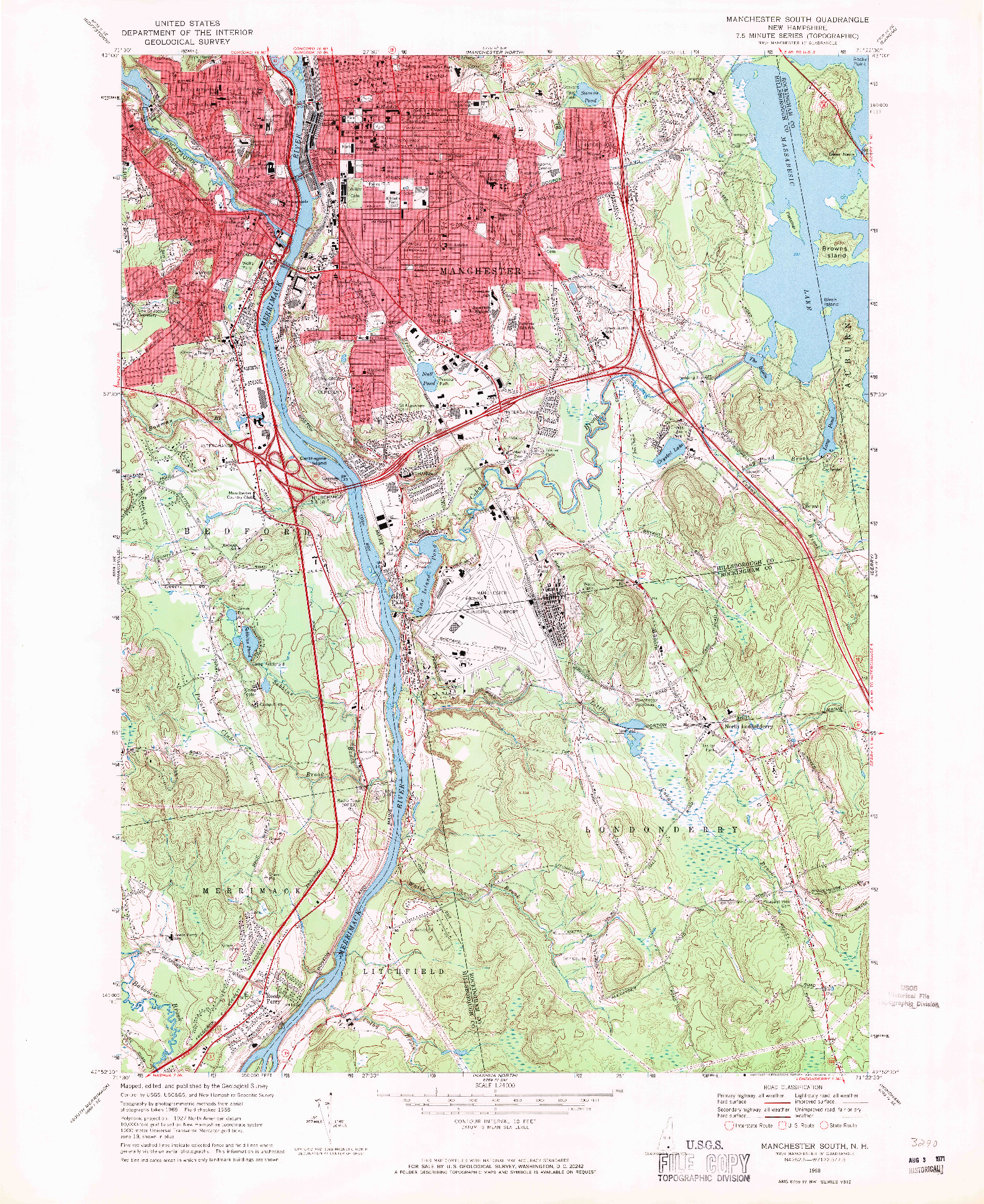 USGS 1:24000-SCALE QUADRANGLE FOR MANCHESTER SOUTH, NH 1968