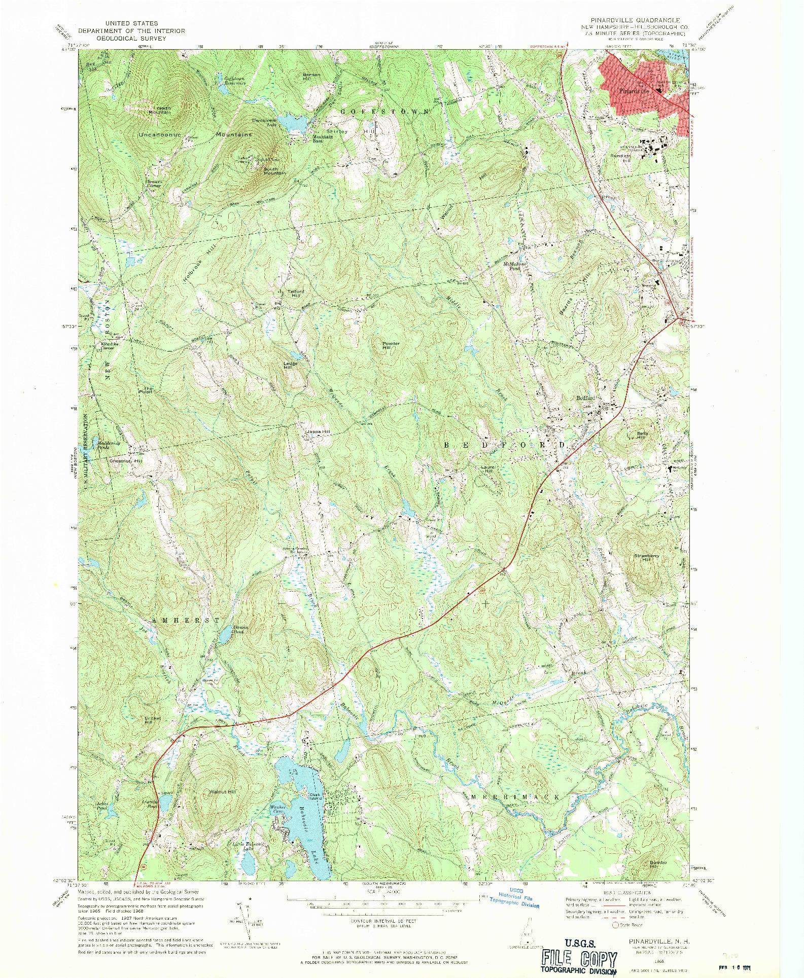 USGS 1:24000-SCALE QUADRANGLE FOR PINARDVILLE, NH 1968