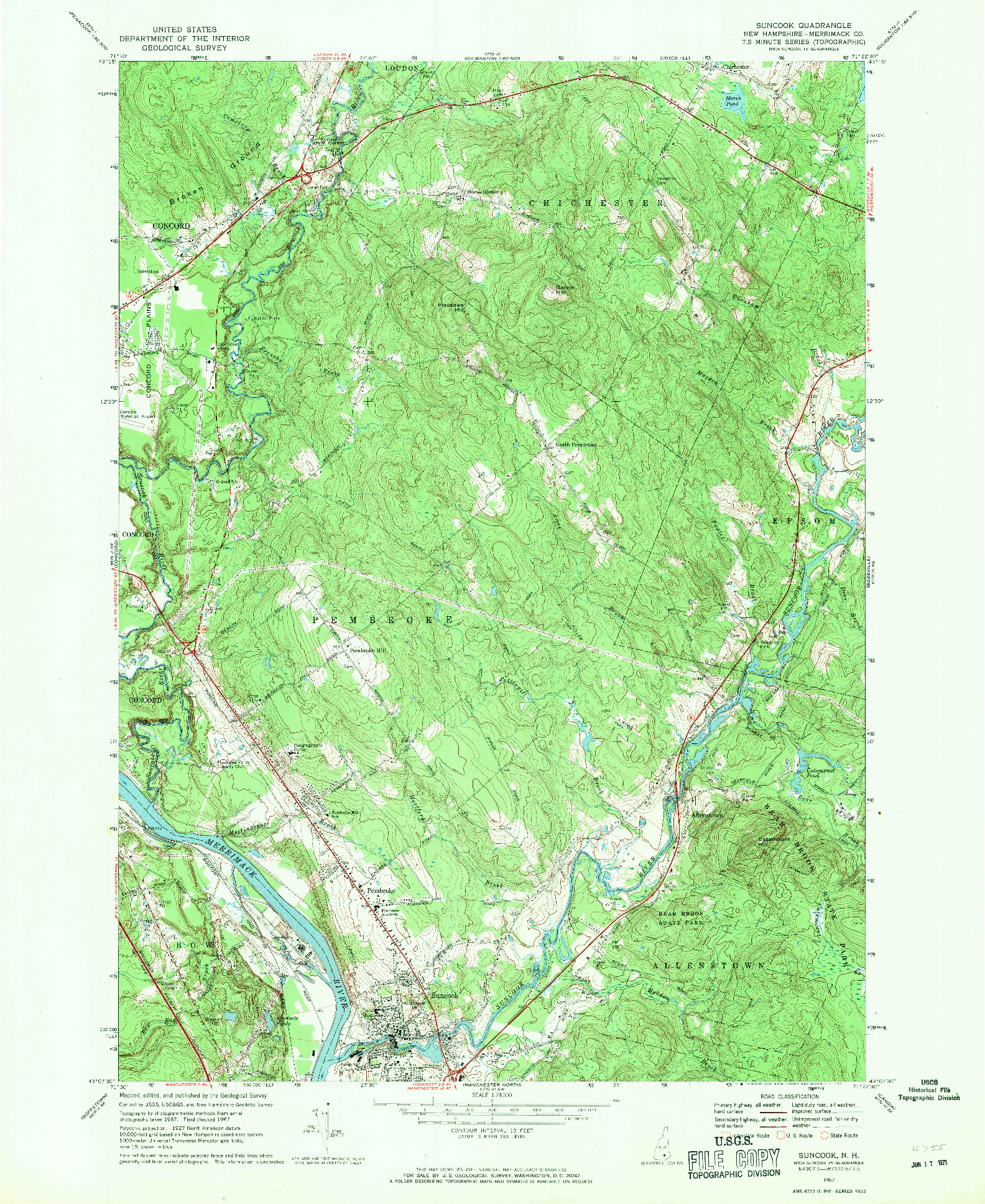 USGS 1:24000-SCALE QUADRANGLE FOR SUNCOOK, NH 1967