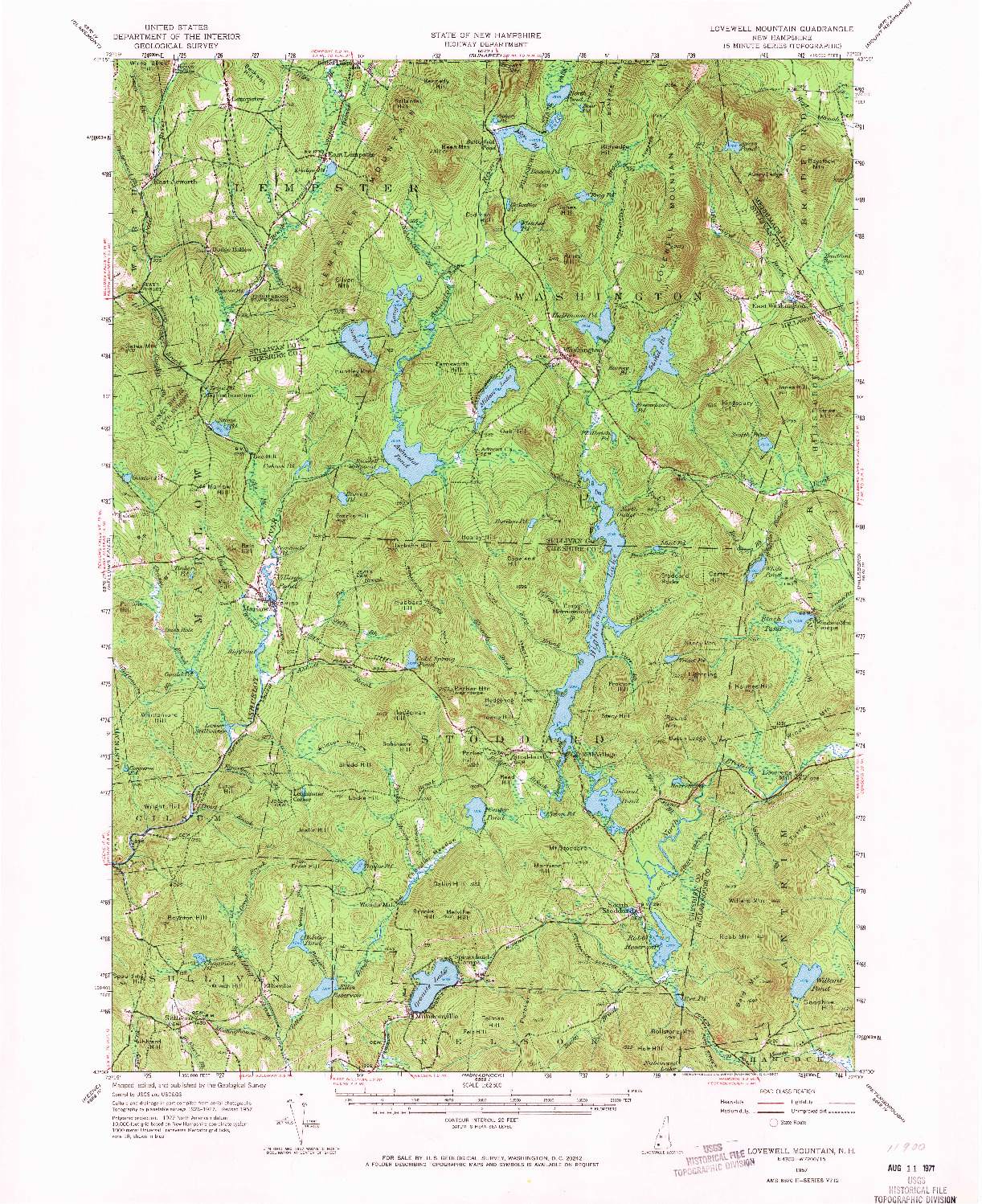 USGS 1:62500-SCALE QUADRANGLE FOR LOVEWELL MOUNTAIN, NH 1957