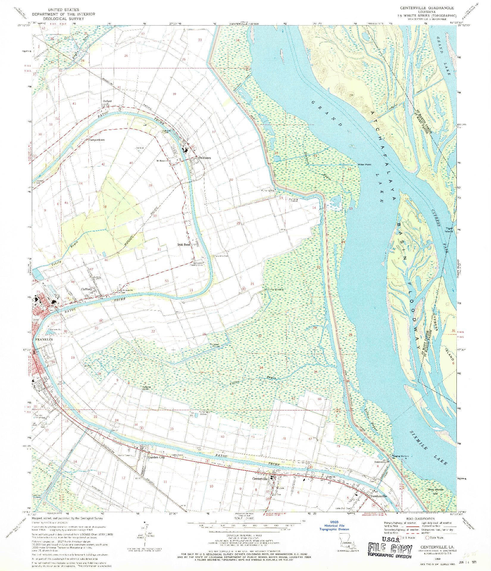 USGS 1:24000-SCALE QUADRANGLE FOR CENTERVILLE, LA 1969