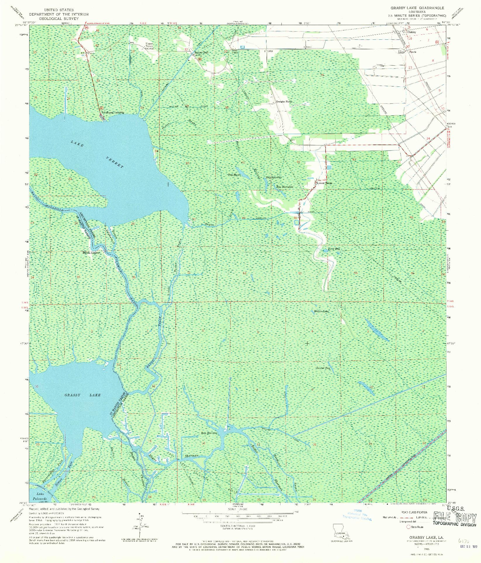 USGS 1:24000-SCALE QUADRANGLE FOR GRASSY LAKE, LA 1965
