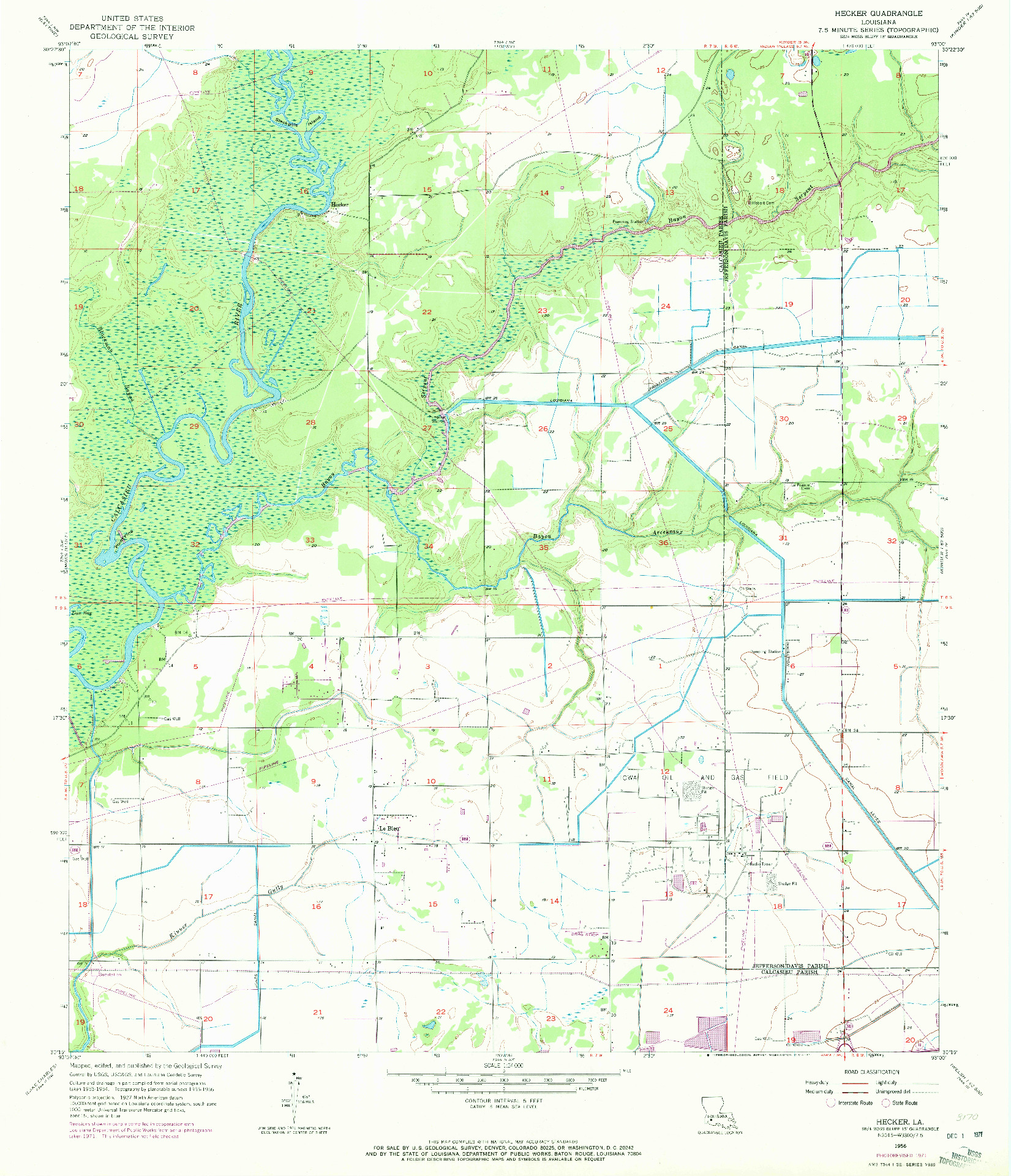 USGS 1:24000-SCALE QUADRANGLE FOR HECKER, LA 1956