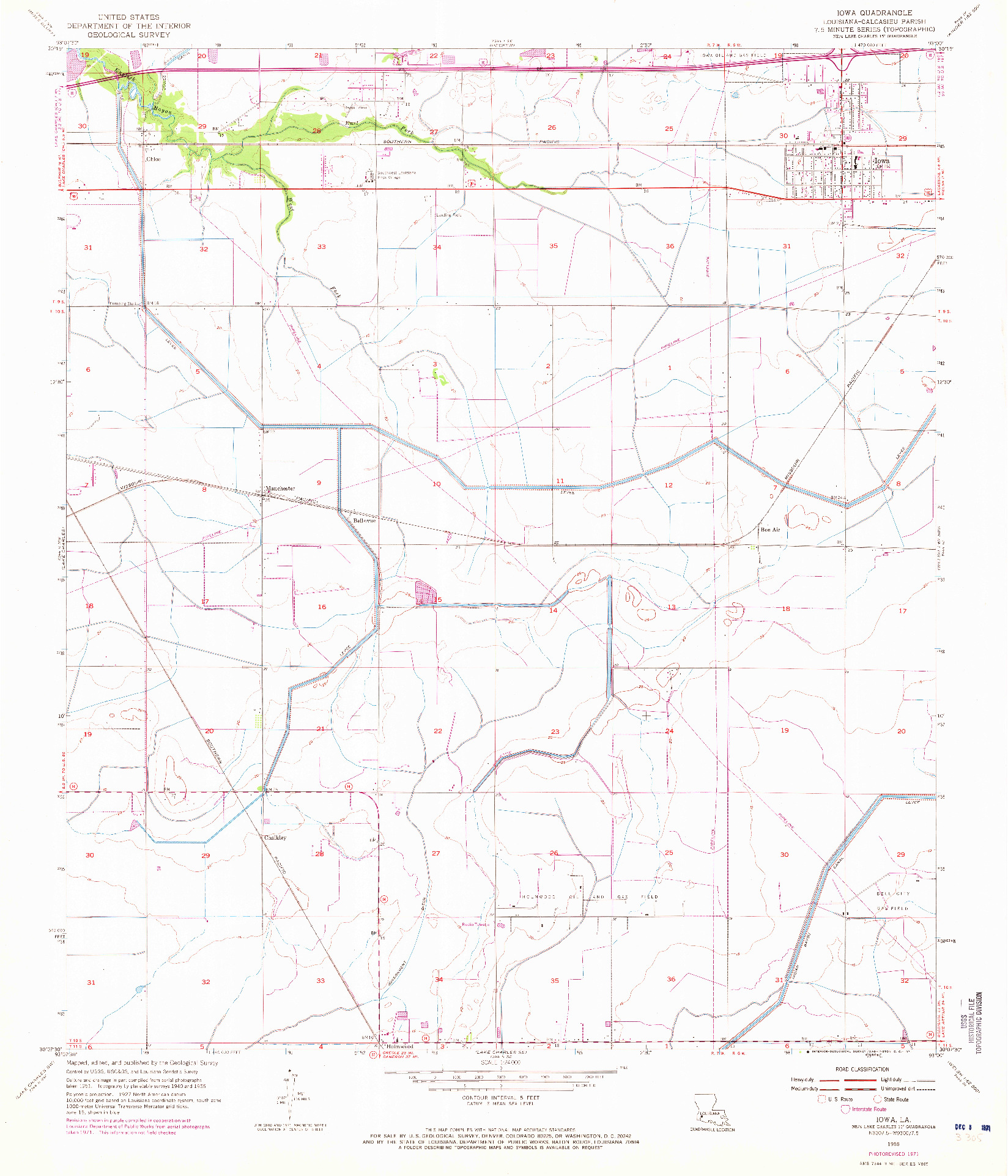 USGS 1:24000-SCALE QUADRANGLE FOR IOWA, LA 1955