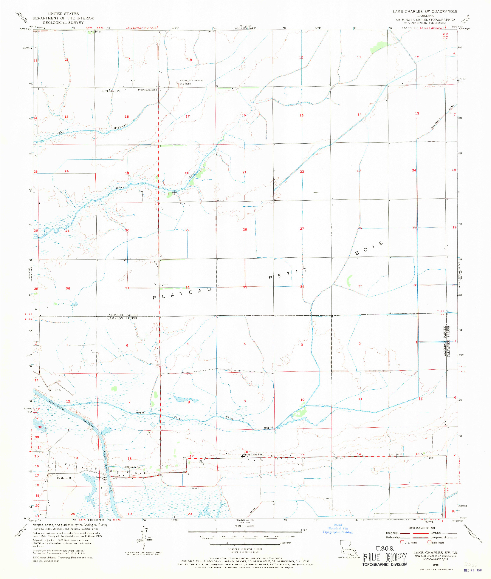 USGS 1:24000-SCALE QUADRANGLE FOR LAKE CHARLES SW, LA 1955