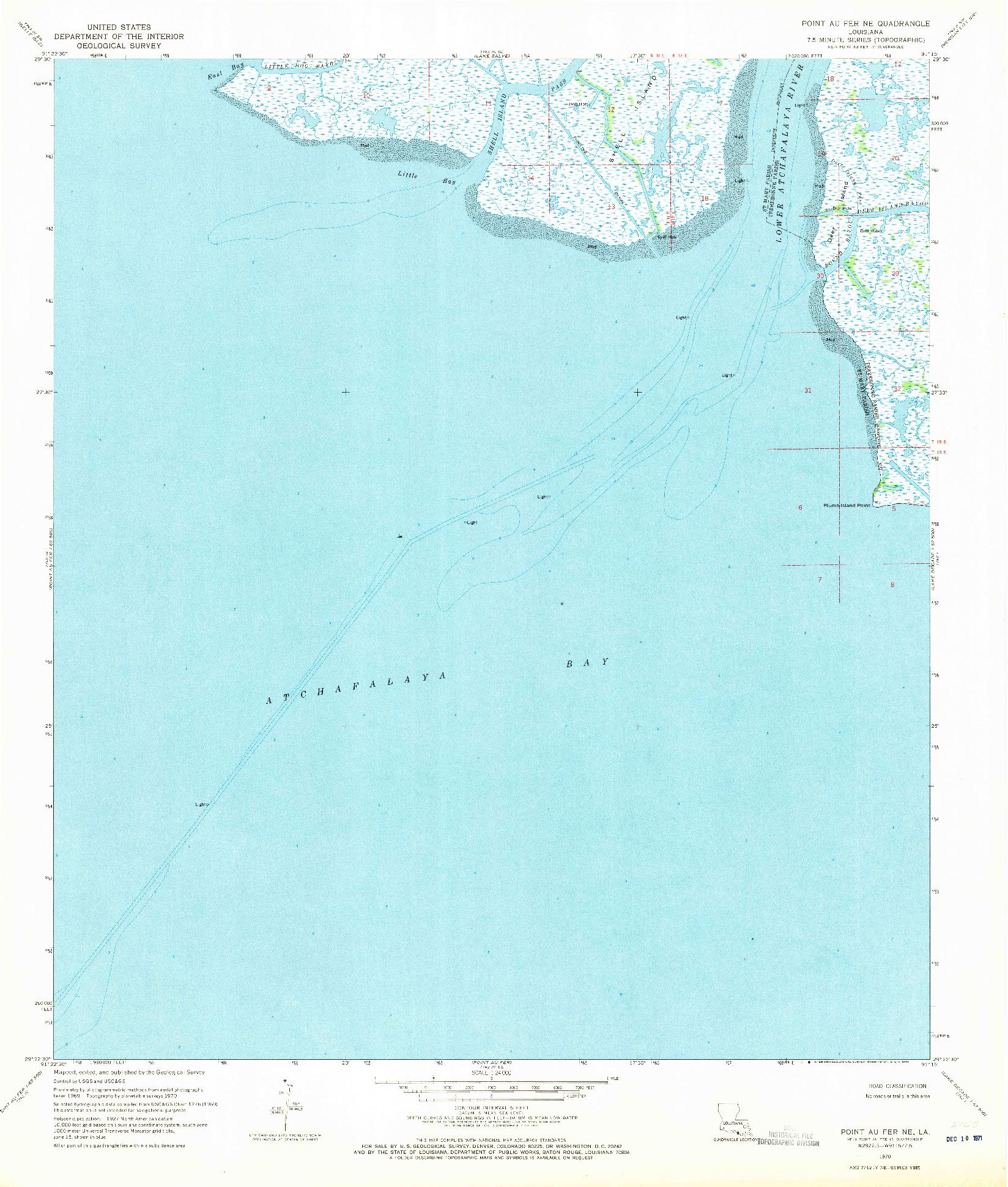 USGS 1:24000-SCALE QUADRANGLE FOR POINT AU FER NE, LA 1970