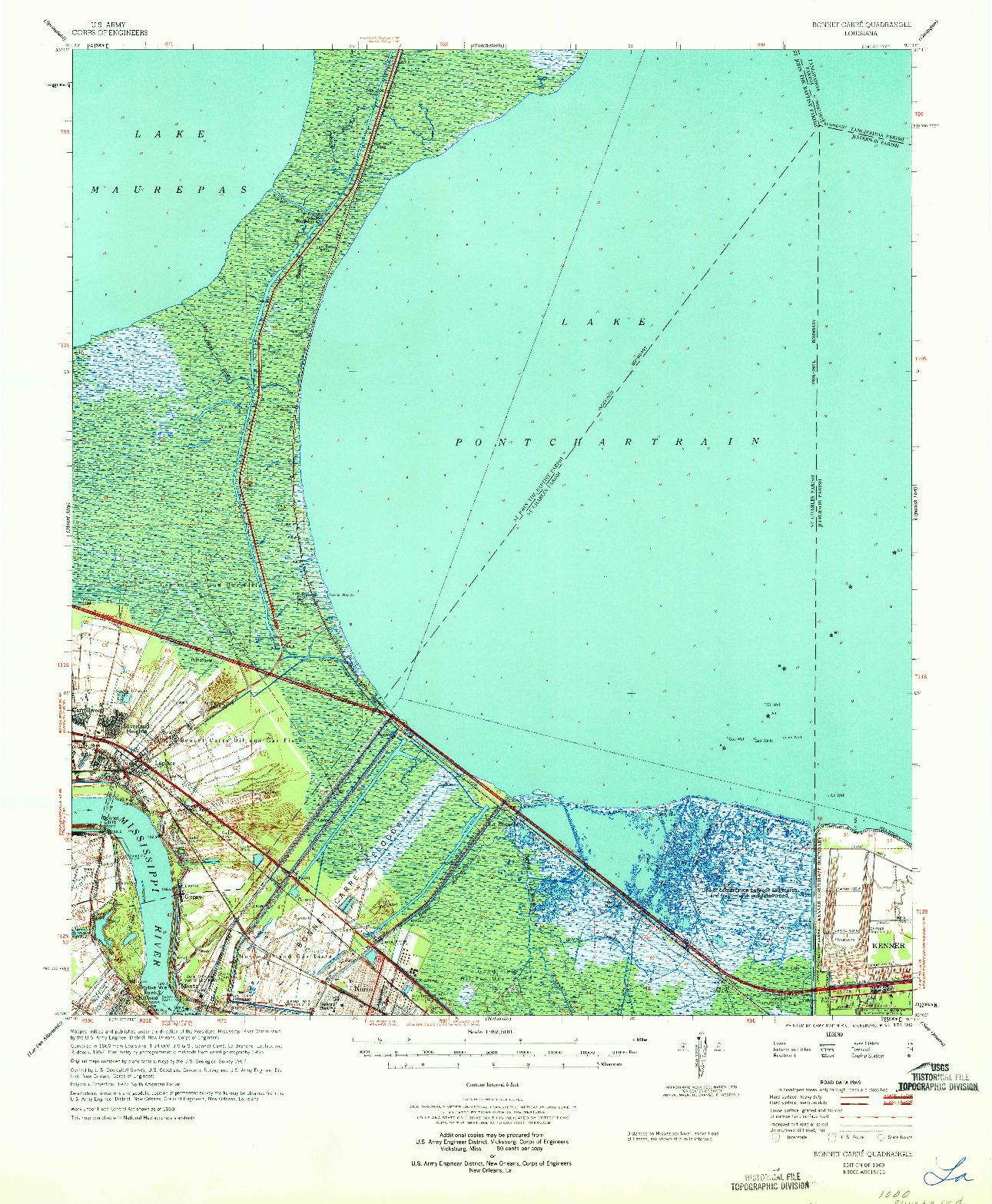 USGS 1:62500-SCALE QUADRANGLE FOR BONNET CARRE, LA 1969