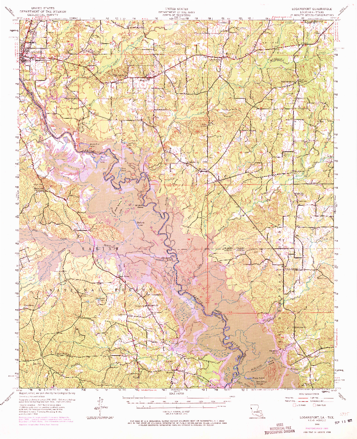 USGS 1:62500-SCALE QUADRANGLE FOR LOGANSPORT, LA 1956