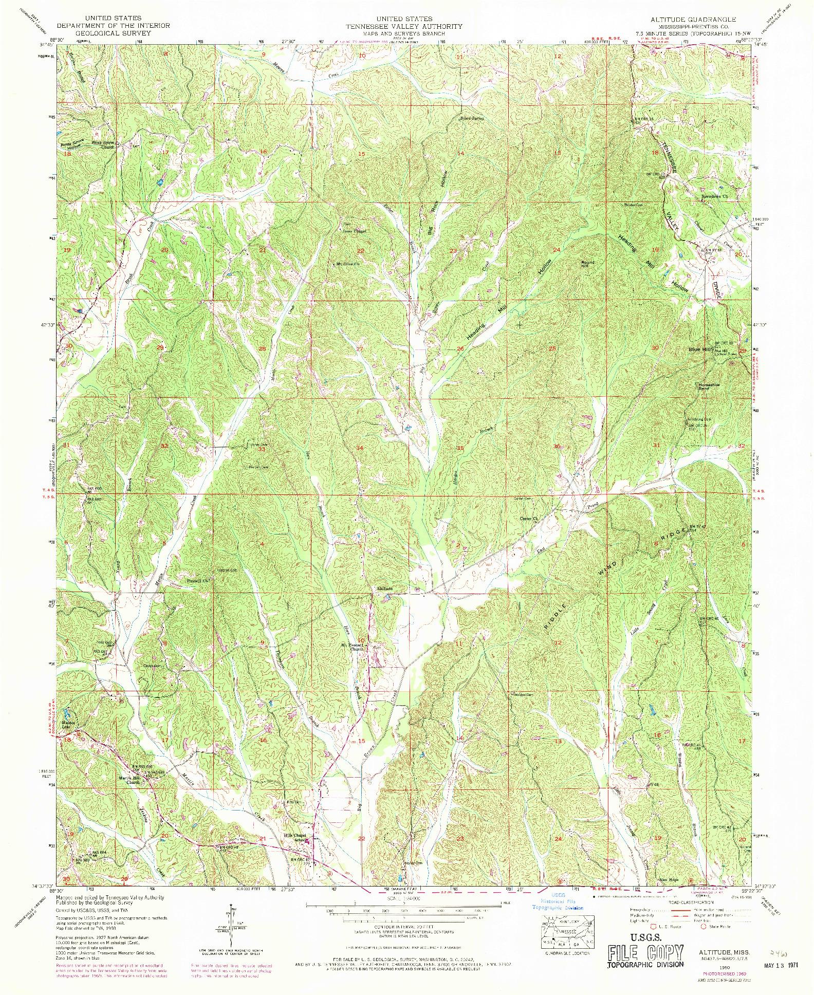 USGS 1:24000-SCALE QUADRANGLE FOR ALTITUDE, MS 1950