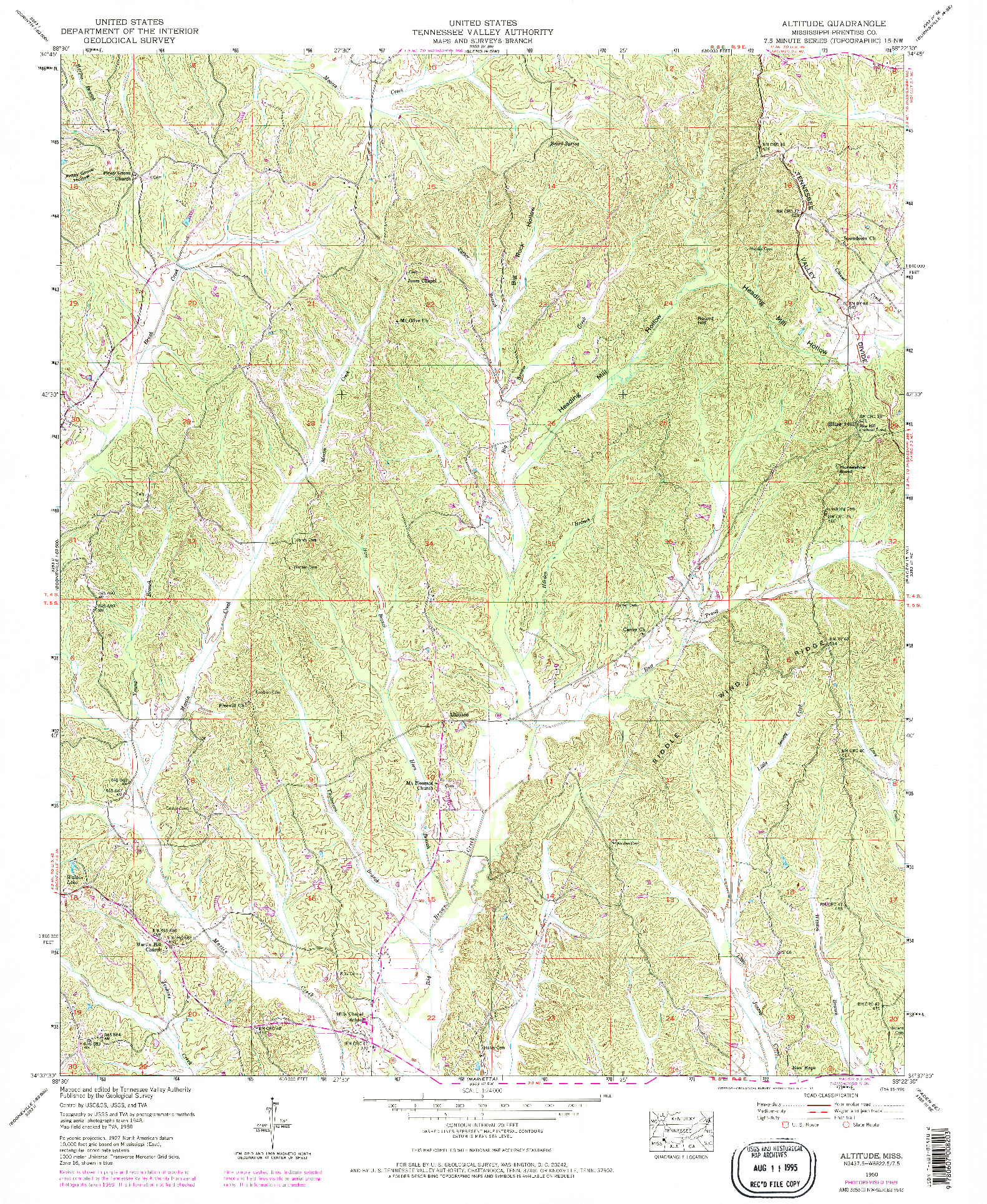 USGS 1:24000-SCALE QUADRANGLE FOR ALTITUDE, MS 1950