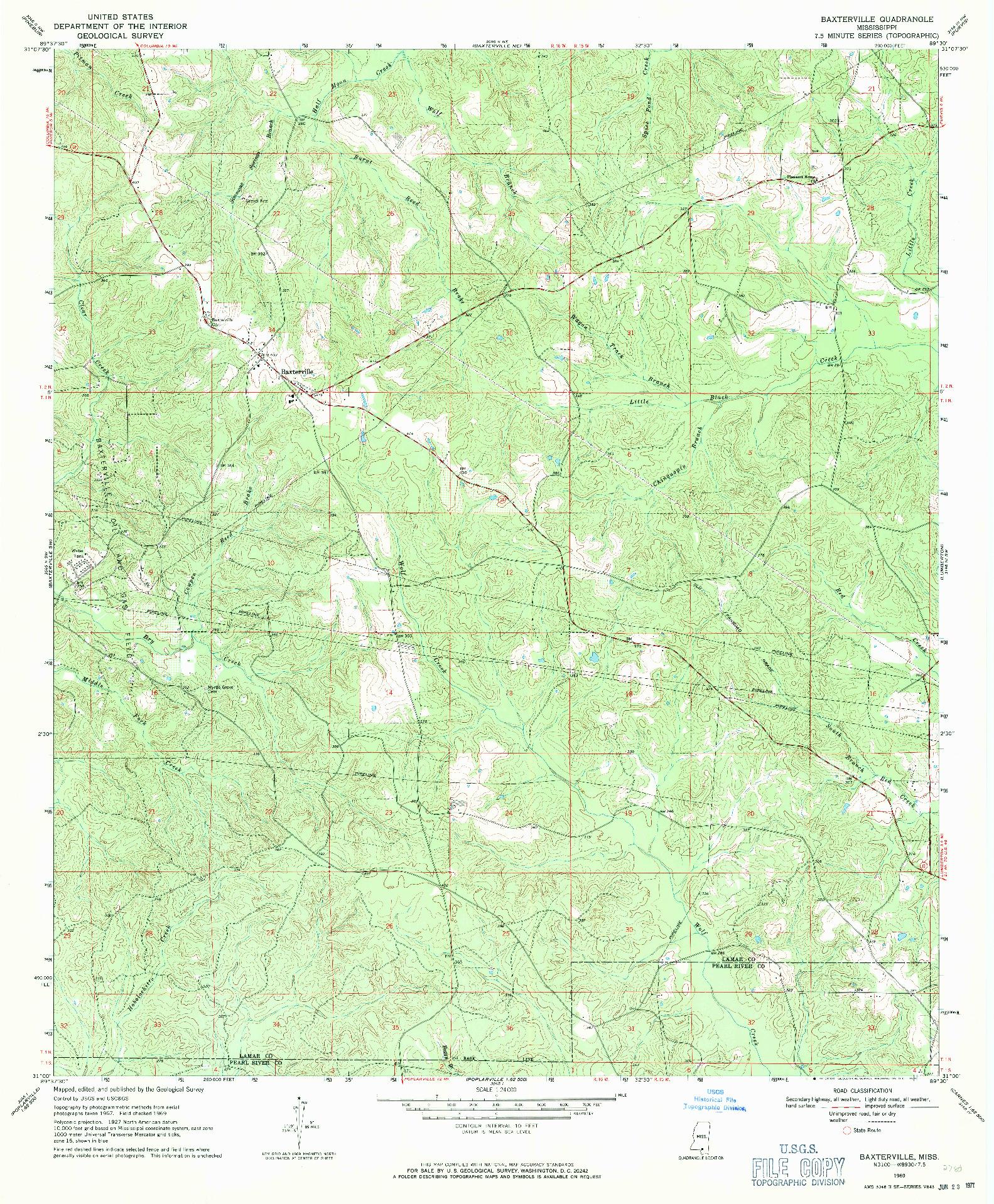 USGS 1:24000-SCALE QUADRANGLE FOR BAXTERVILLE, MS 1969