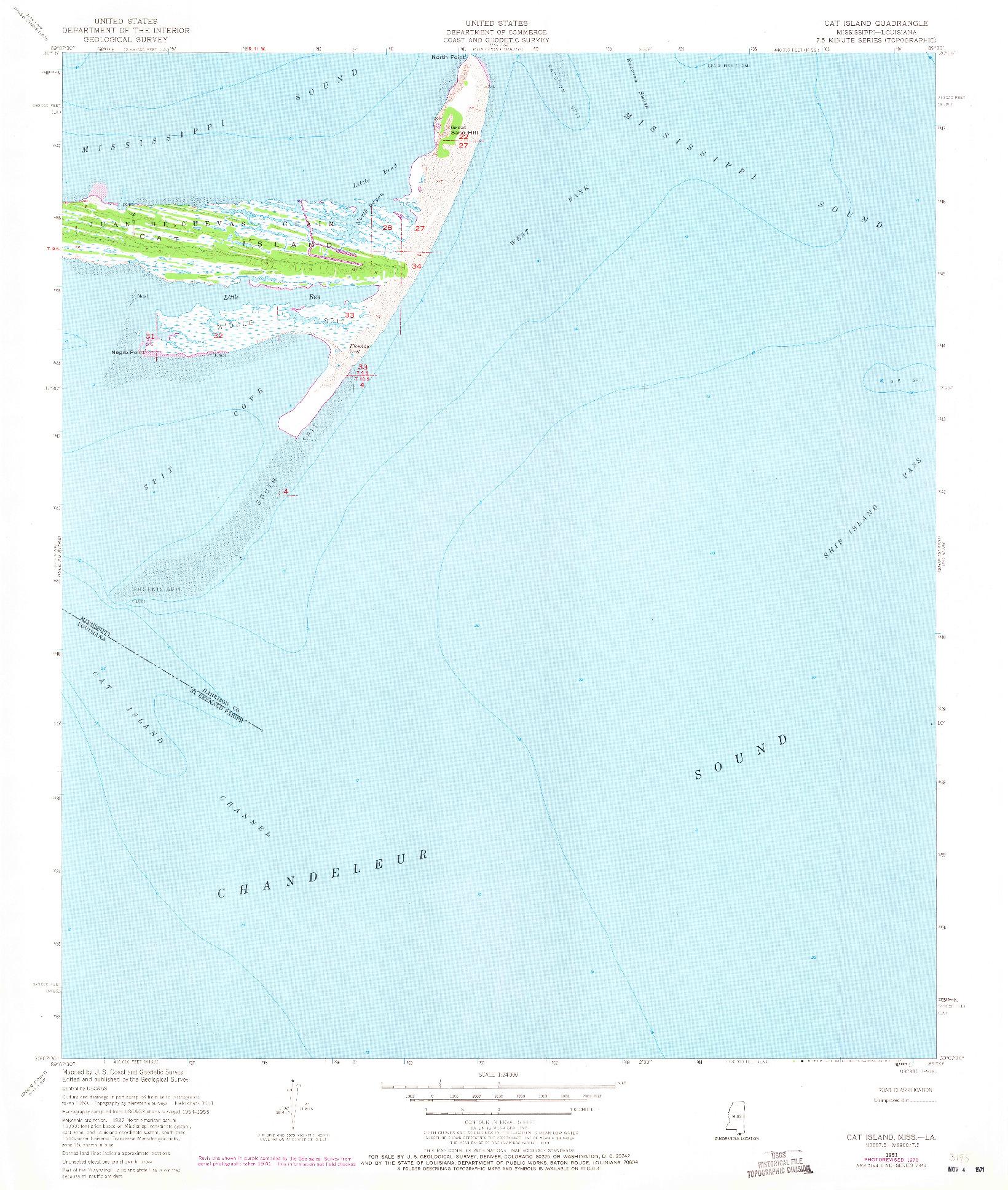 USGS 1:24000-SCALE QUADRANGLE FOR CAT ISLAND, MS 1951
