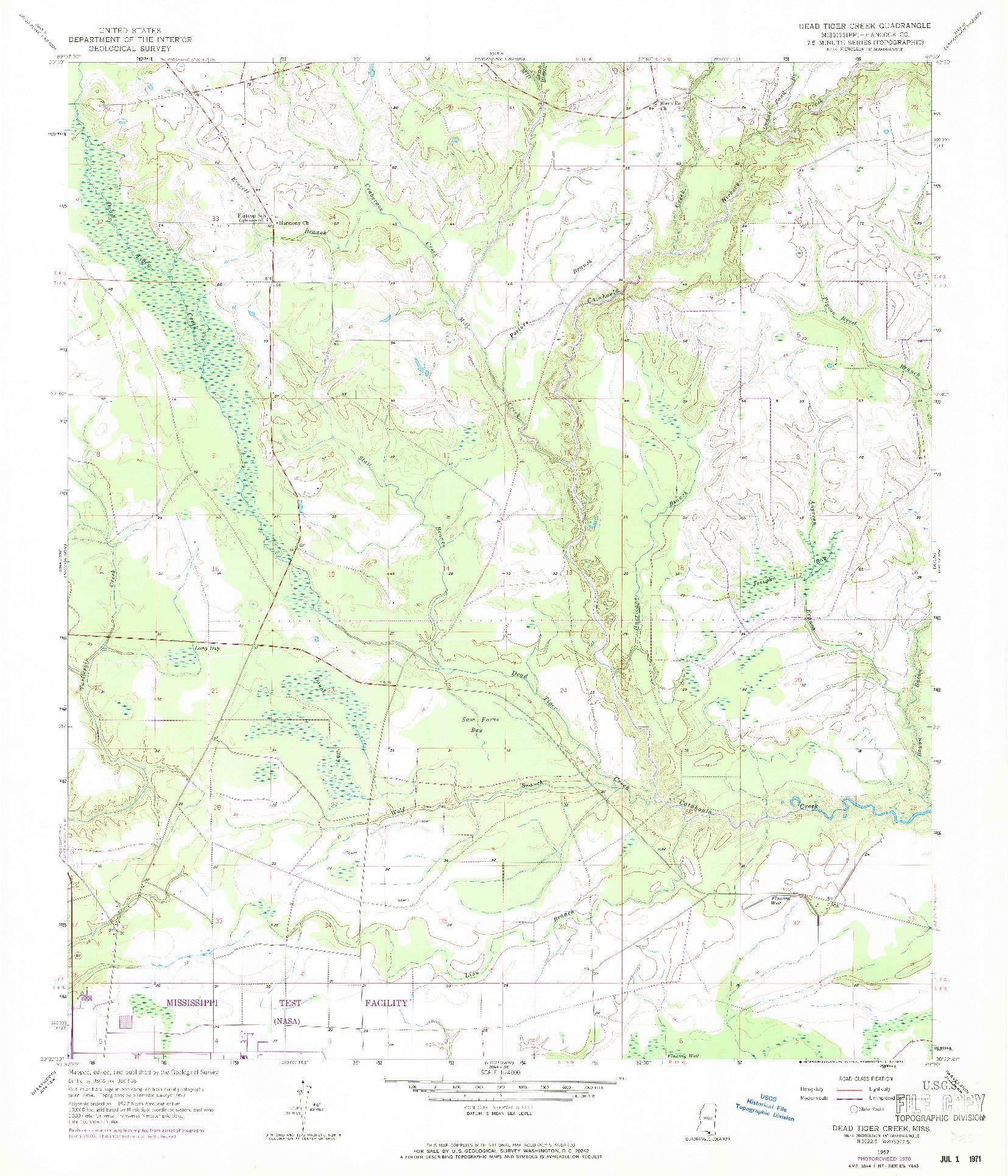 USGS 1:24000-SCALE QUADRANGLE FOR DEAD TIGER CREEK, MS 1957