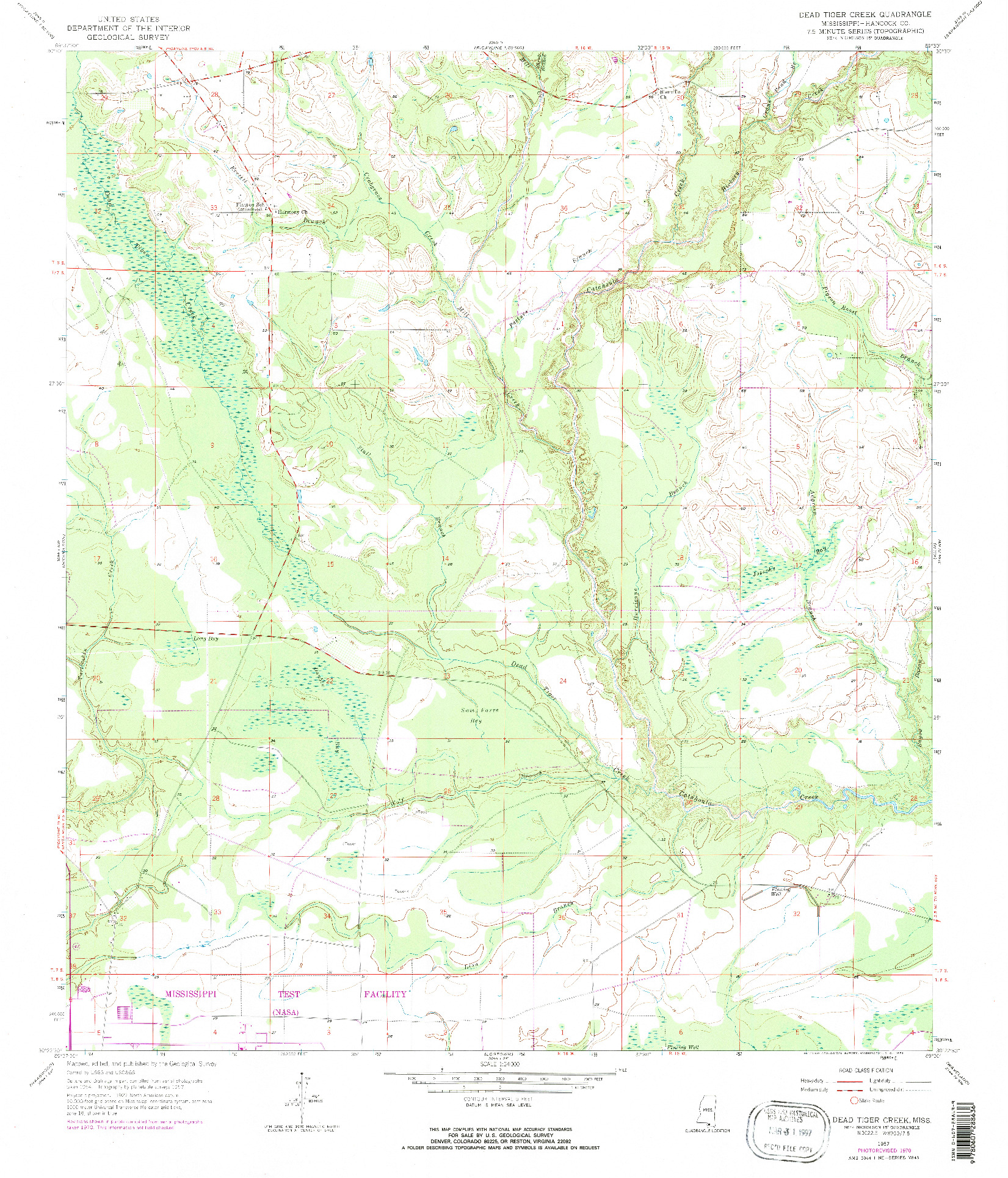 USGS 1:24000-SCALE QUADRANGLE FOR DEAD TIGER CREEK, MS 1957