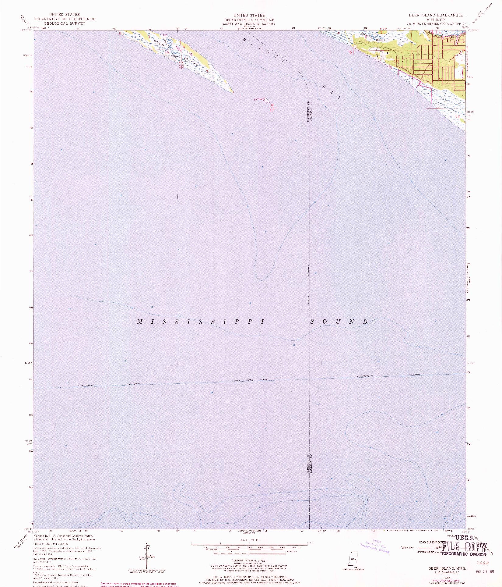 USGS 1:24000-SCALE QUADRANGLE FOR DEER ISLAND, MS 1954