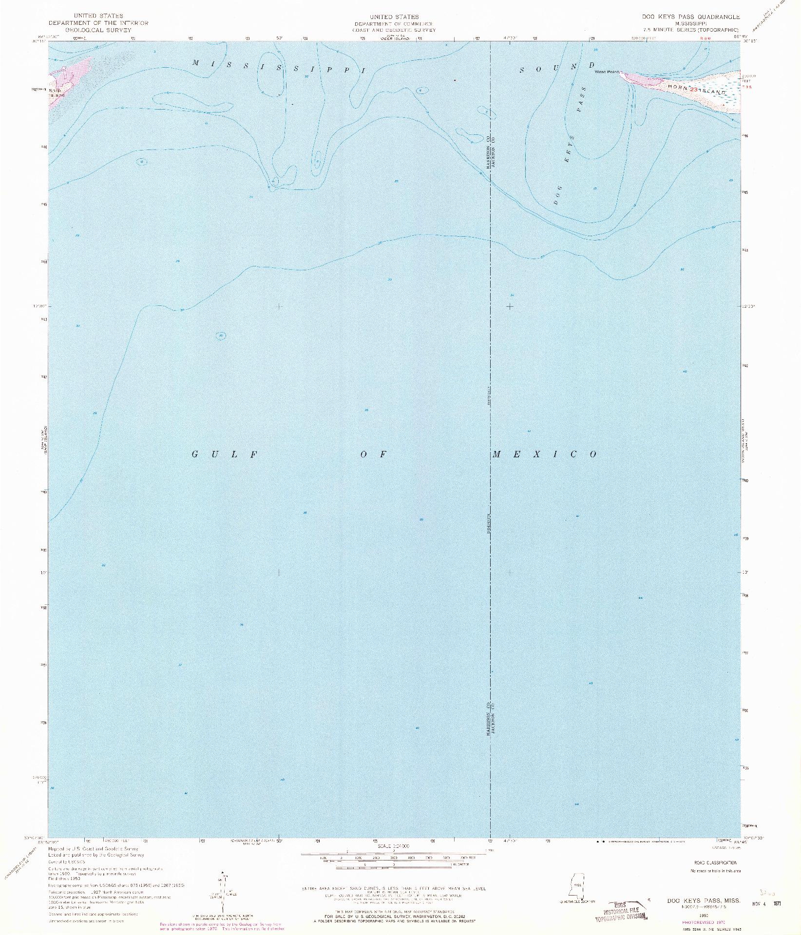 USGS 1:24000-SCALE QUADRANGLE FOR DOG KEYS PASS, MS 1950